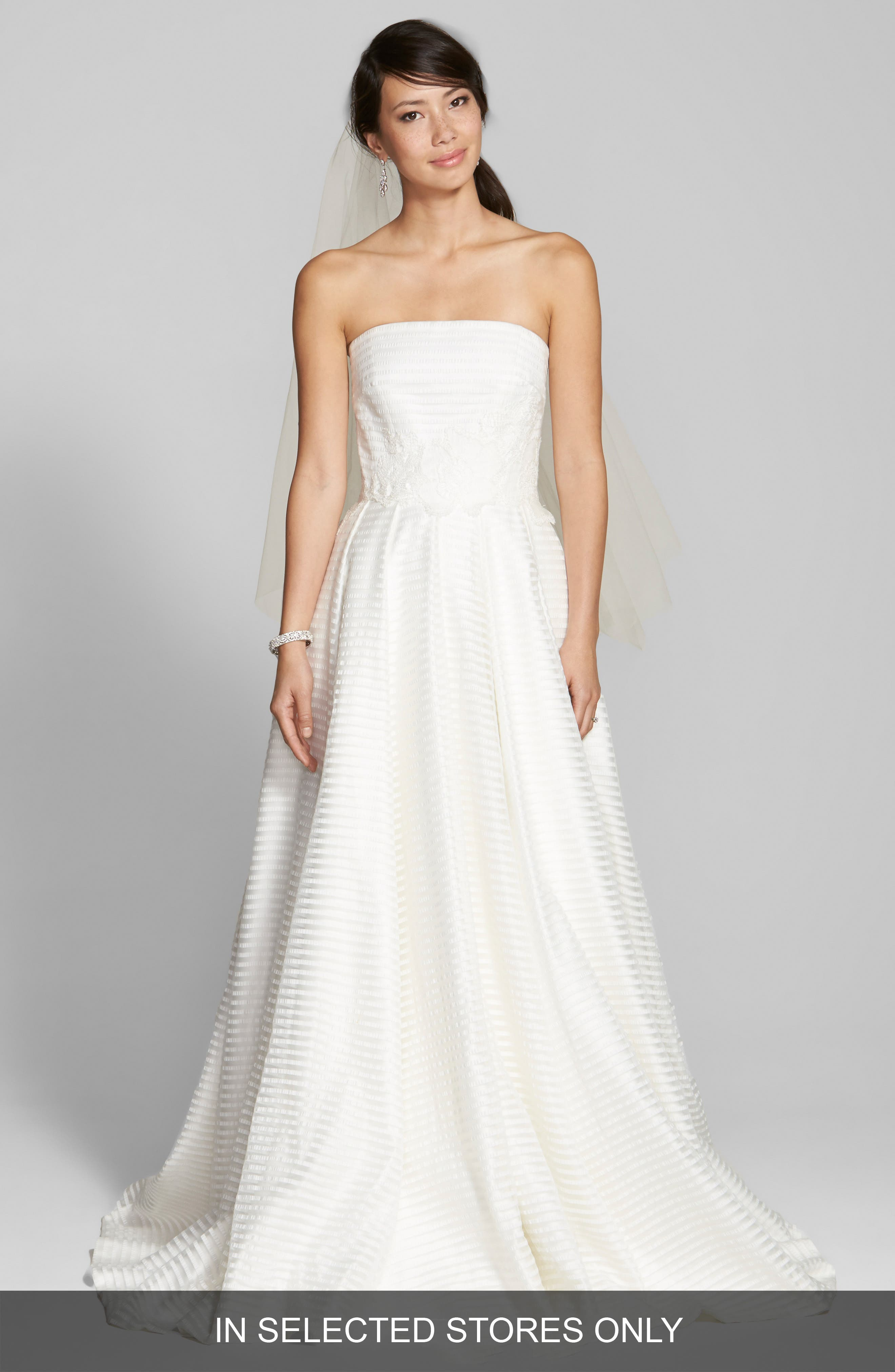 Jesús Peiró Embroidered Waist Stripe Organza A-Line Dress (In Stores Only)
