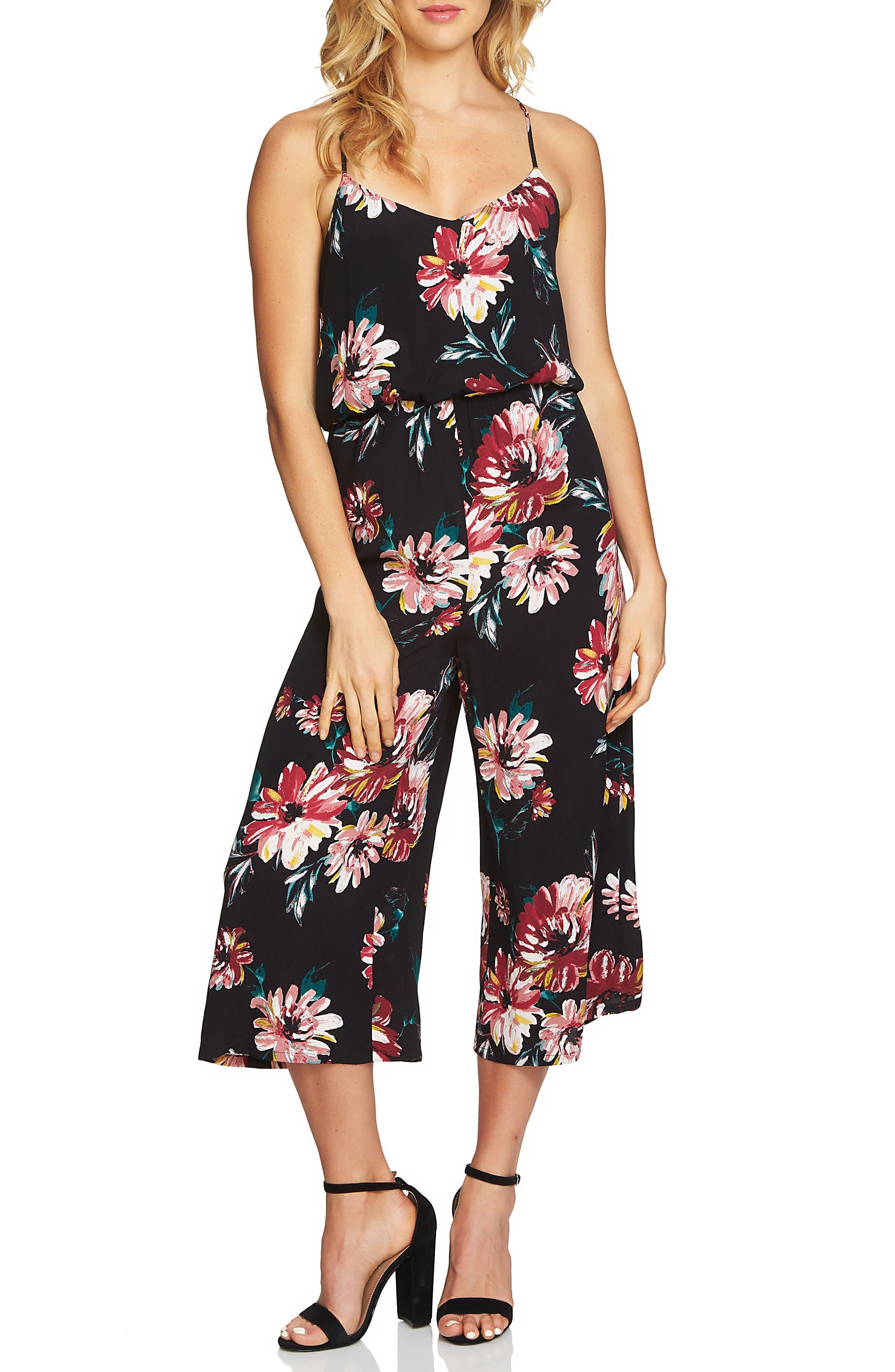 Floral Print Jumpsuit,                         Main,                         color, Rich Black