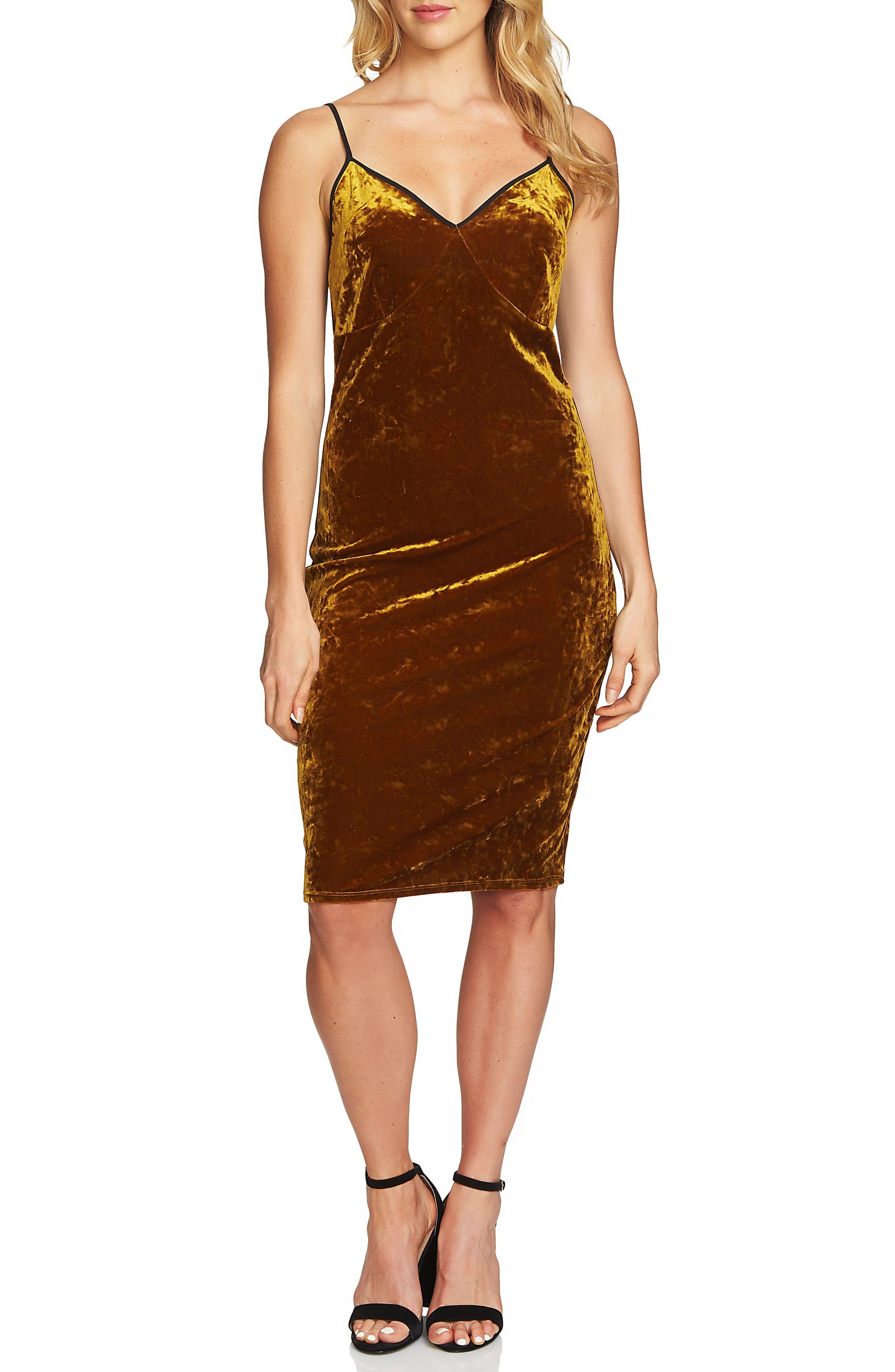 Velvet Body-Con Dress,                             Main thumbnail 1, color,                             Deep Gold