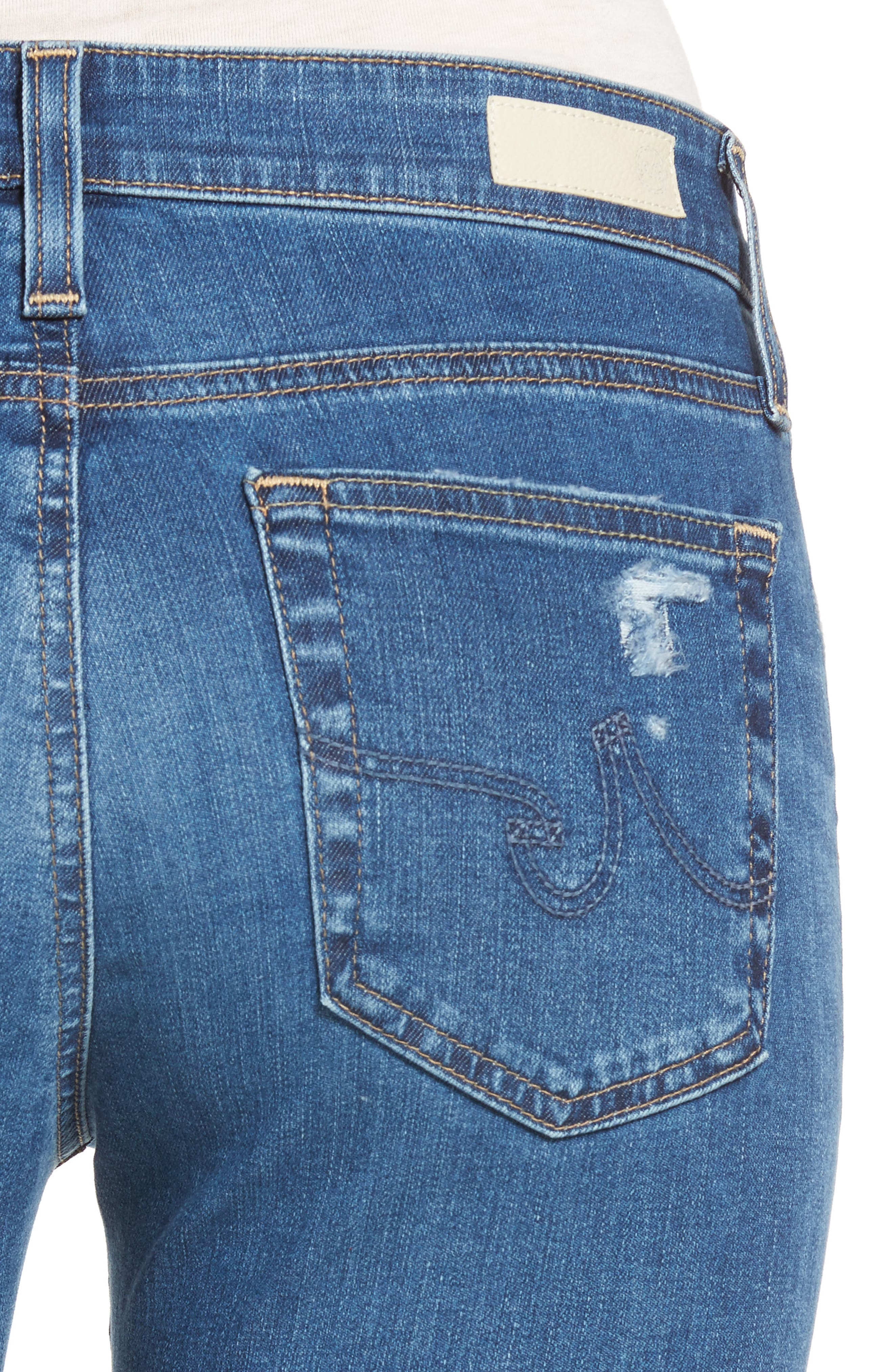 The Farrah High Waist Ankle Skinny Jeans,                             Alternate thumbnail 4, color,                             14 Year Blue Nile Destructed
