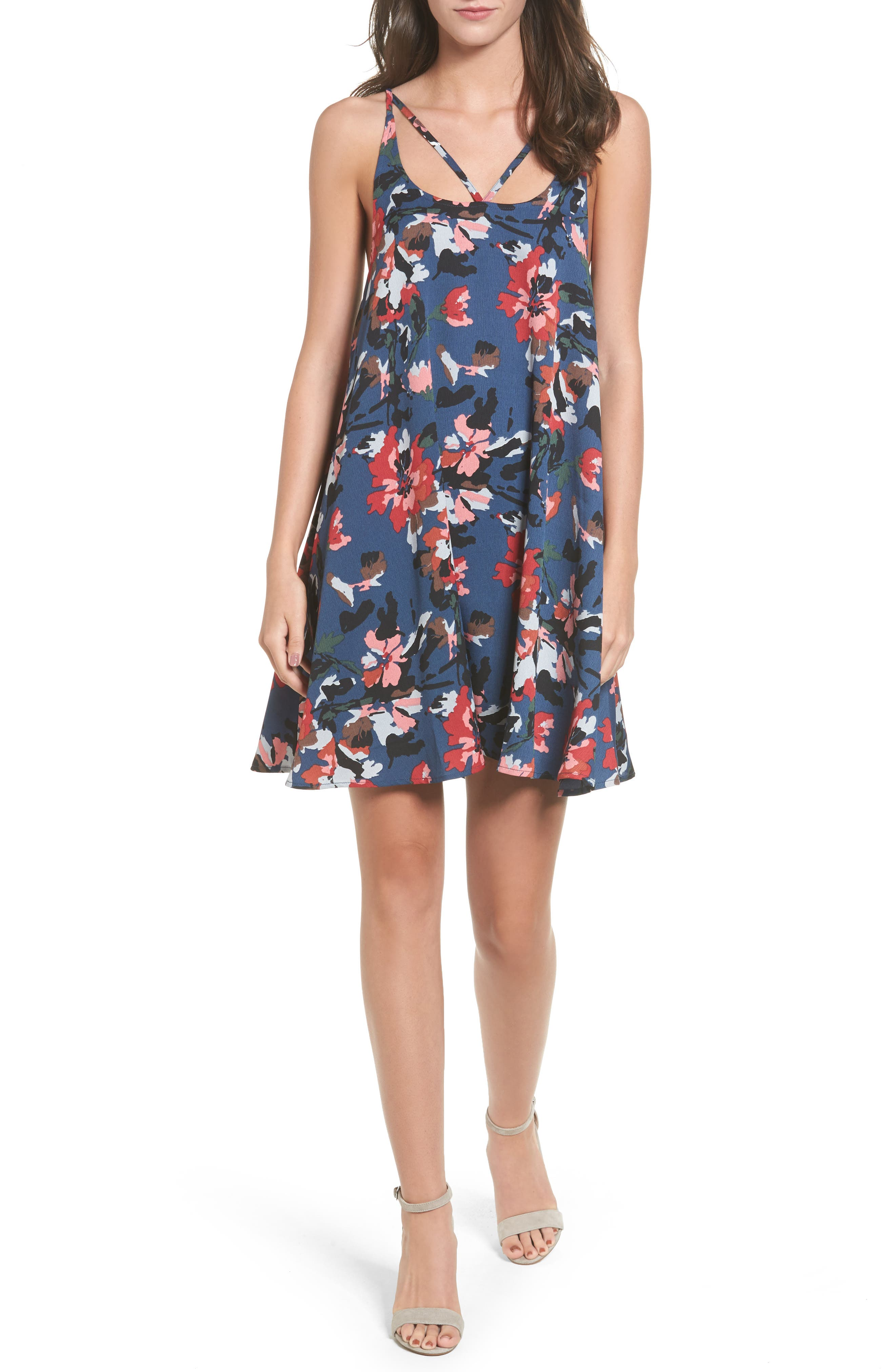 Print Strappy Slipdress,                             Main thumbnail 1, color,                             Blue Twilight Floral