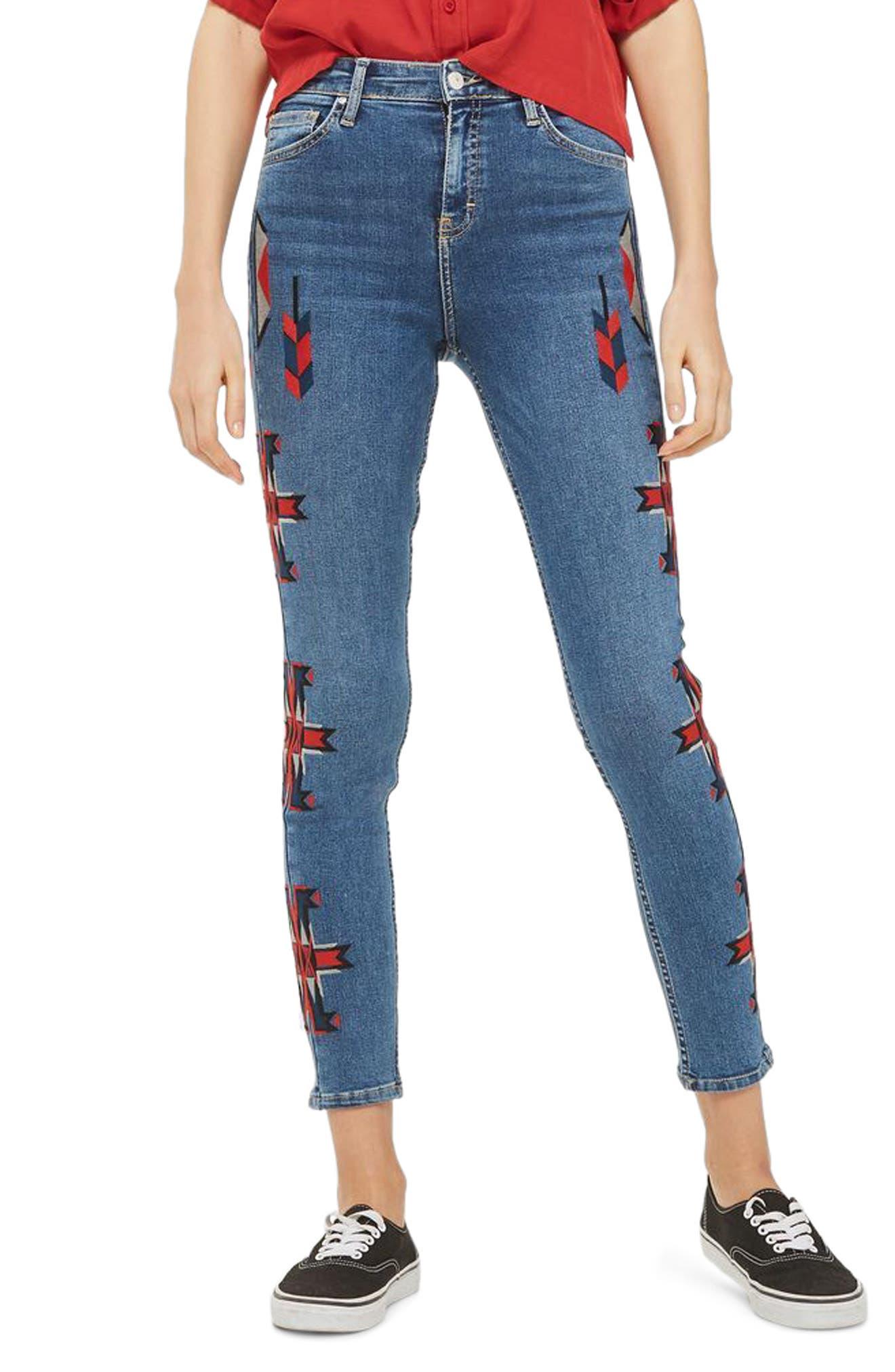 Topshop Jamie Embroidered Skinny Jeans