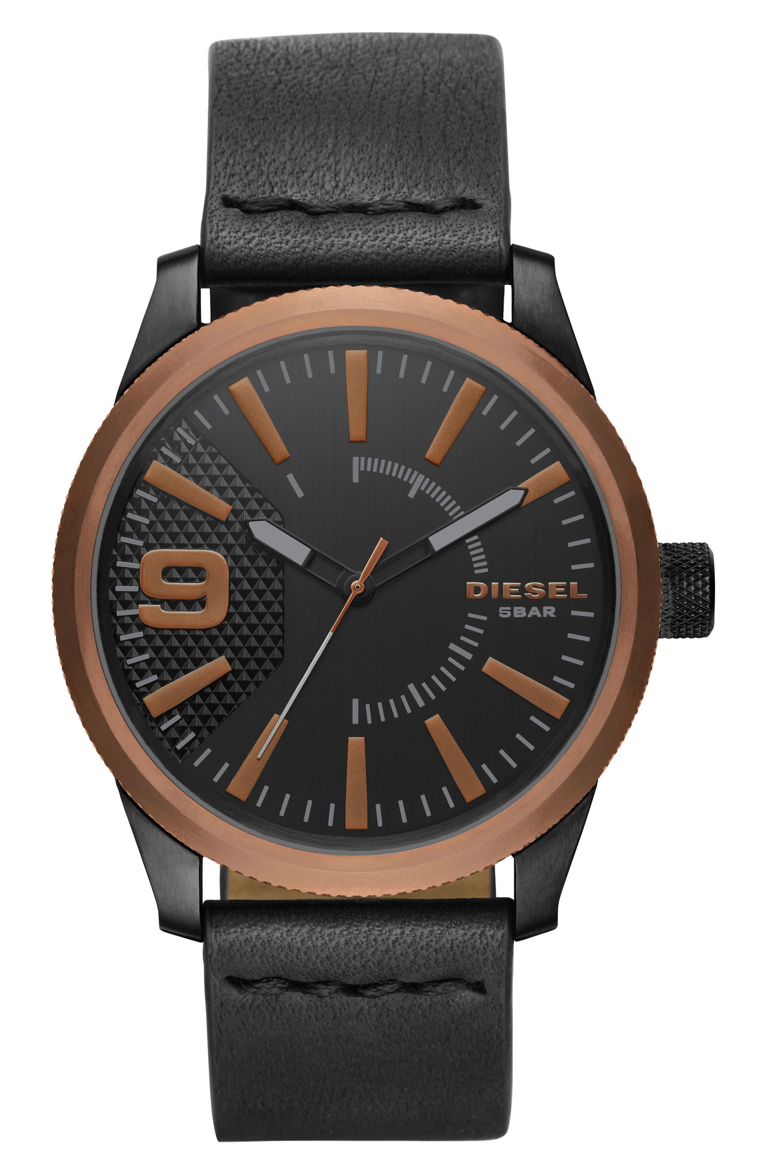 Rasp Leather Strap Watch, 46mm,                             Main thumbnail 1, color,                             Black/ Black
