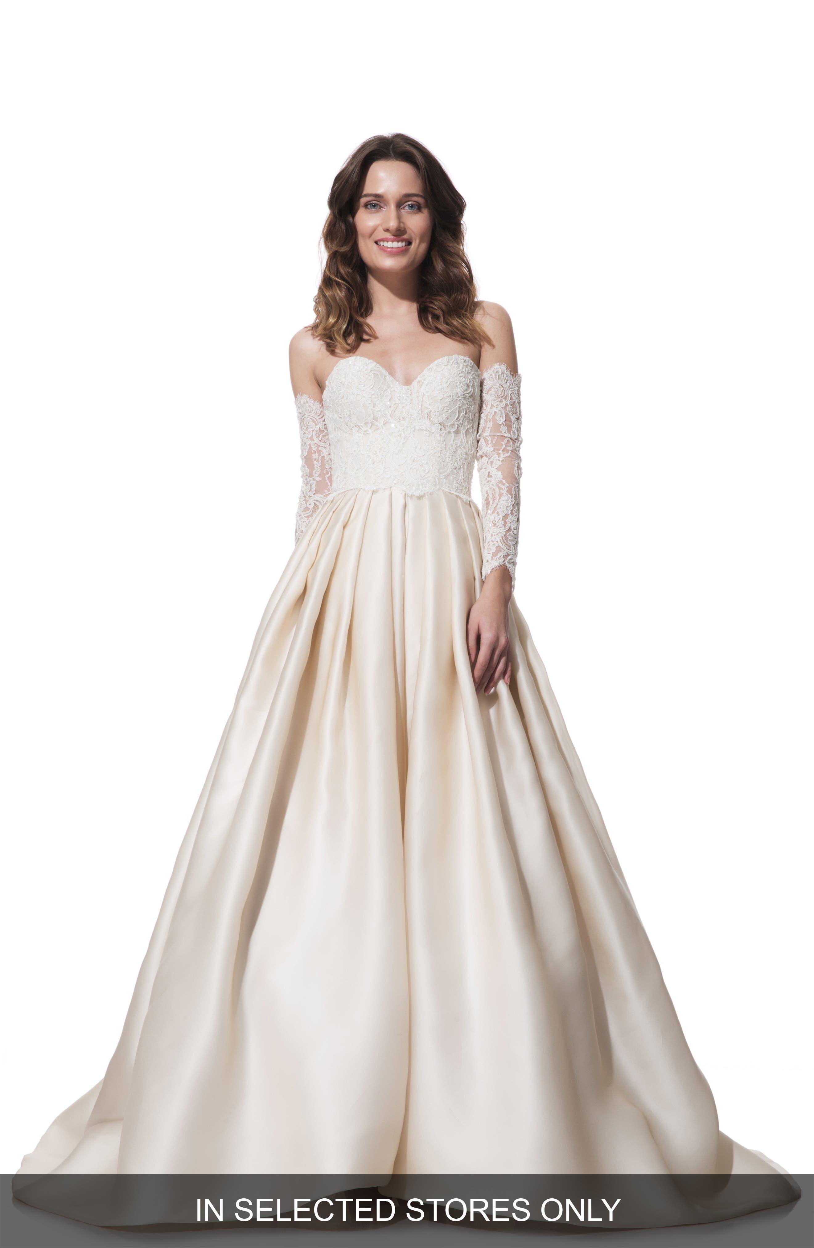 Clara Lace & Silk Organza Ballgown Dress,                             Main thumbnail 1, color,                             Latte