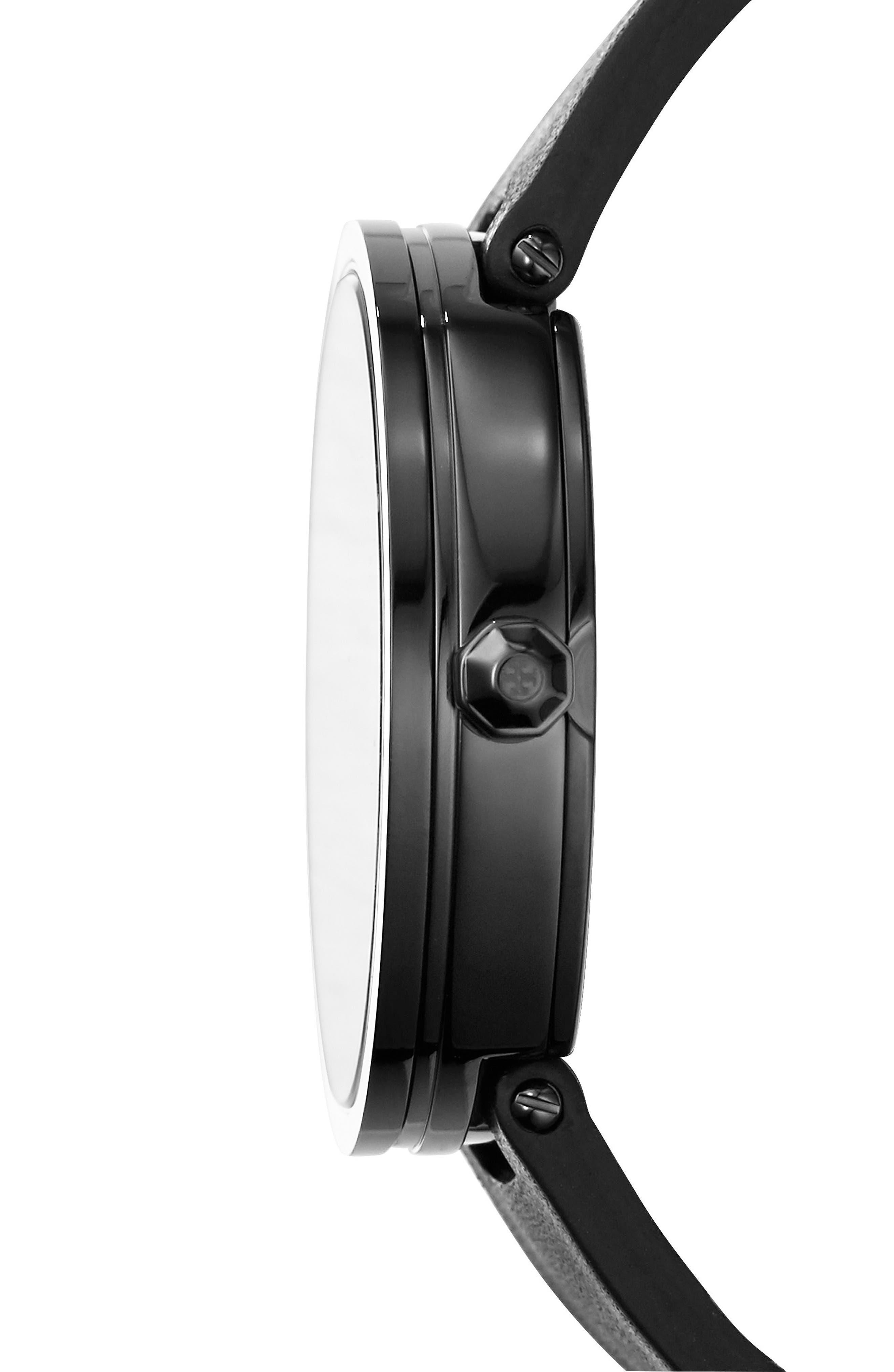 Reva Logo Dial Leather Strap Watch, 36mm,                             Alternate thumbnail 2, color,                             Black/ Gold