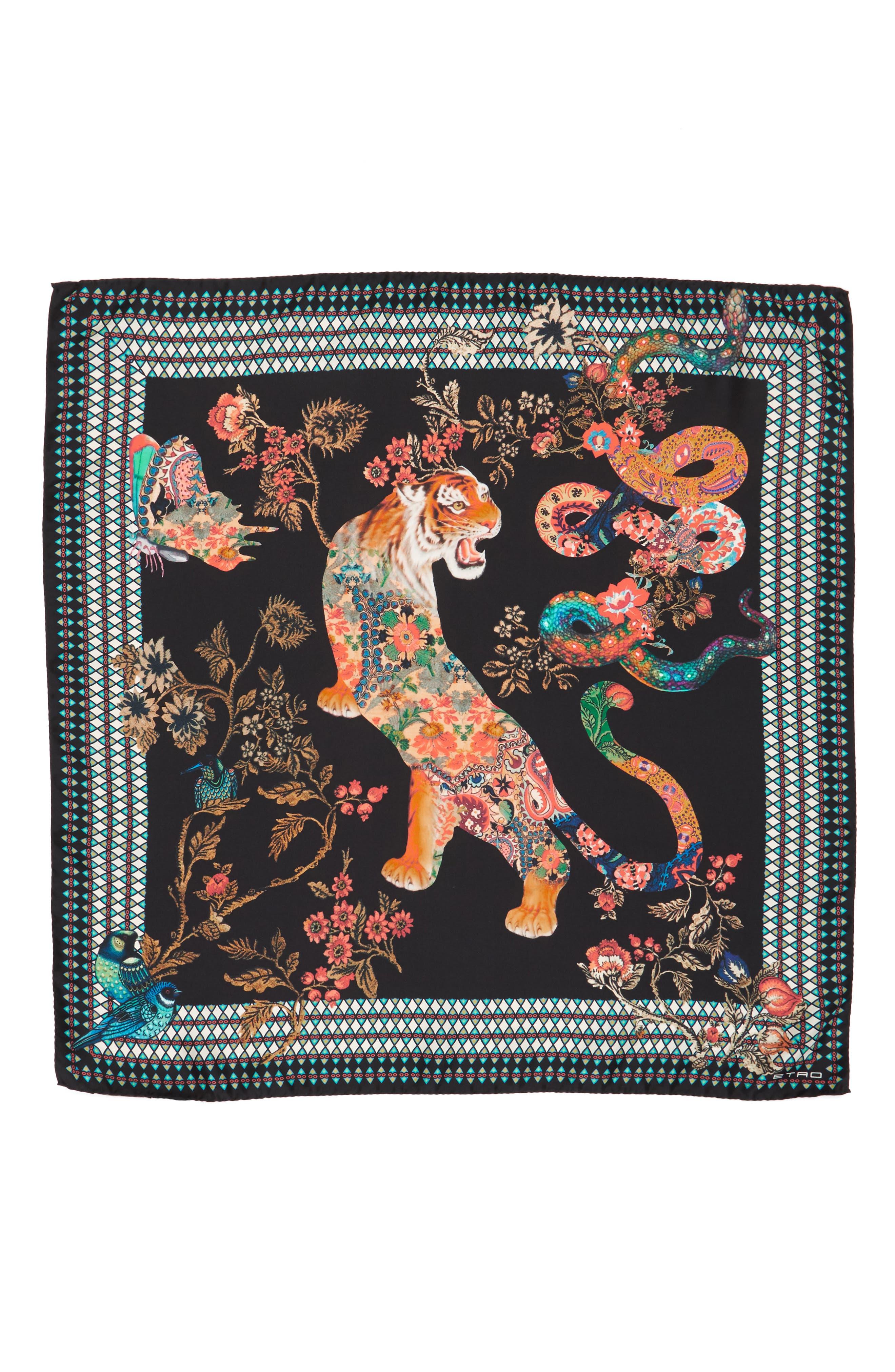 Tiger Print Silk Scarf,                         Main,                         color, Black Multi