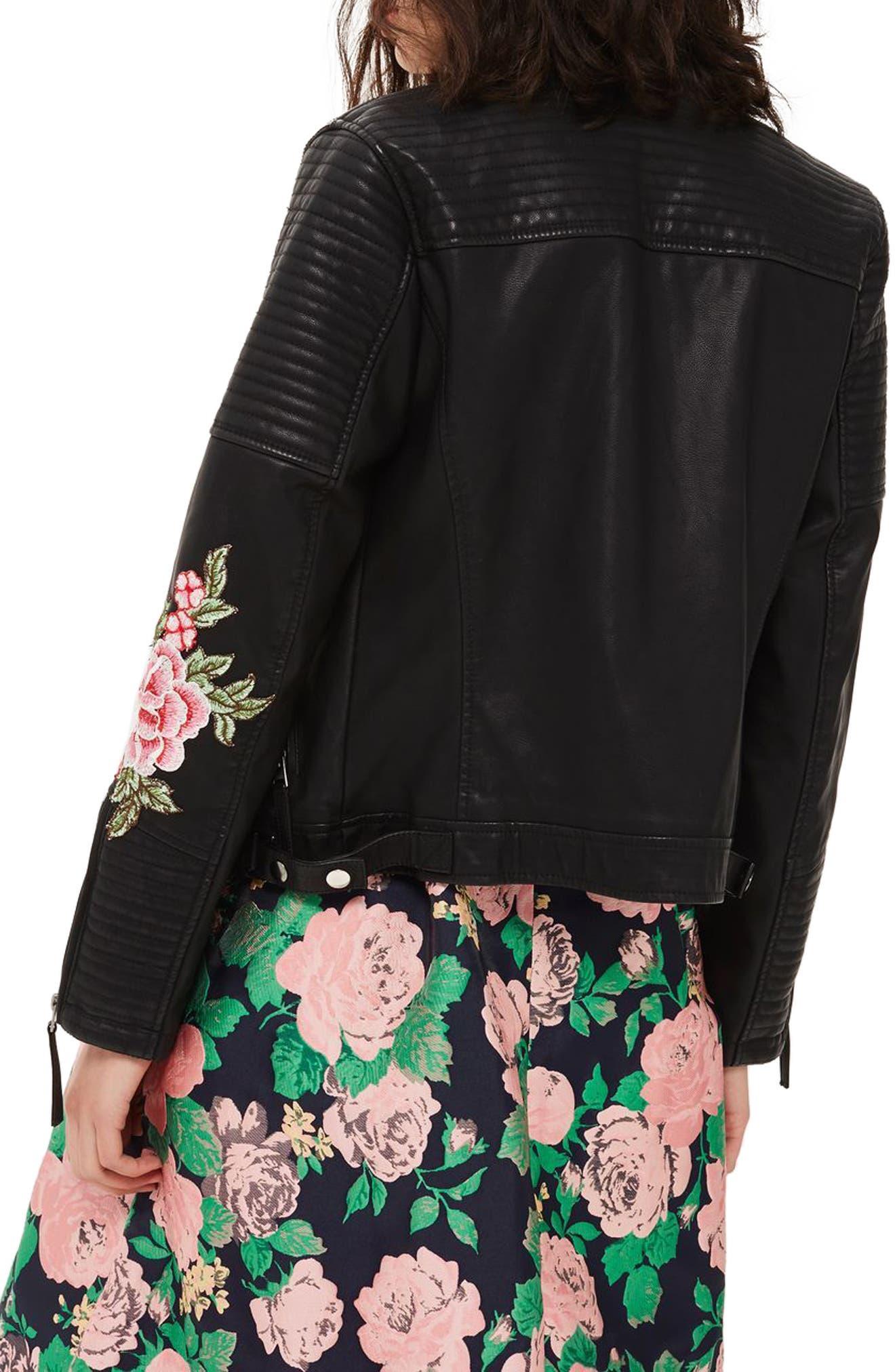 Luna Floral Patch Faux Leather Biker Jacket,                             Alternate thumbnail 2, color,                             Black