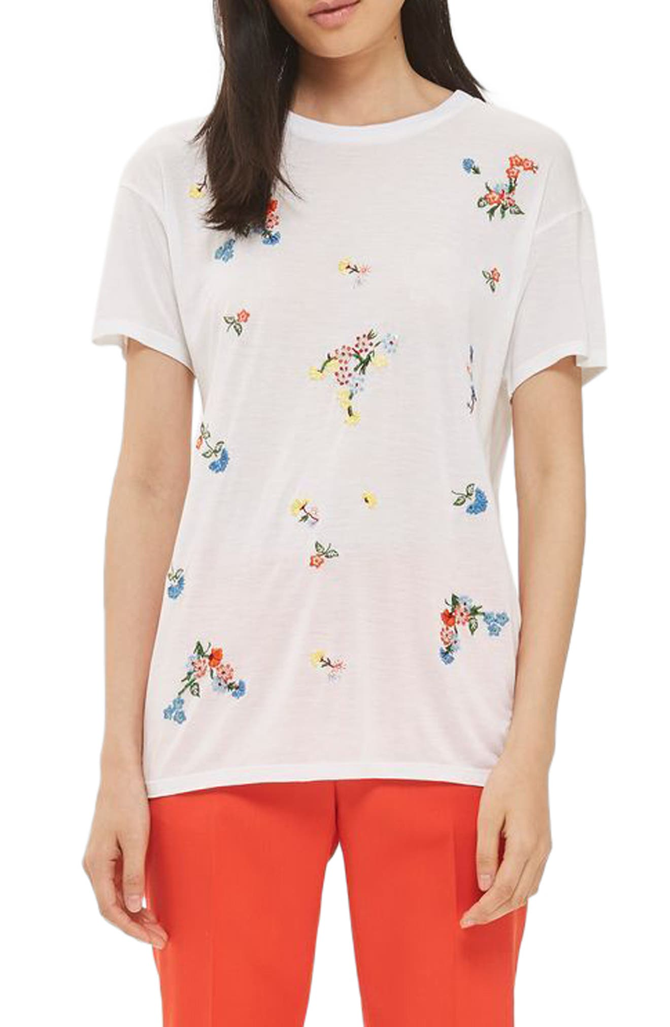 Topshop Embroidered Floral Tee