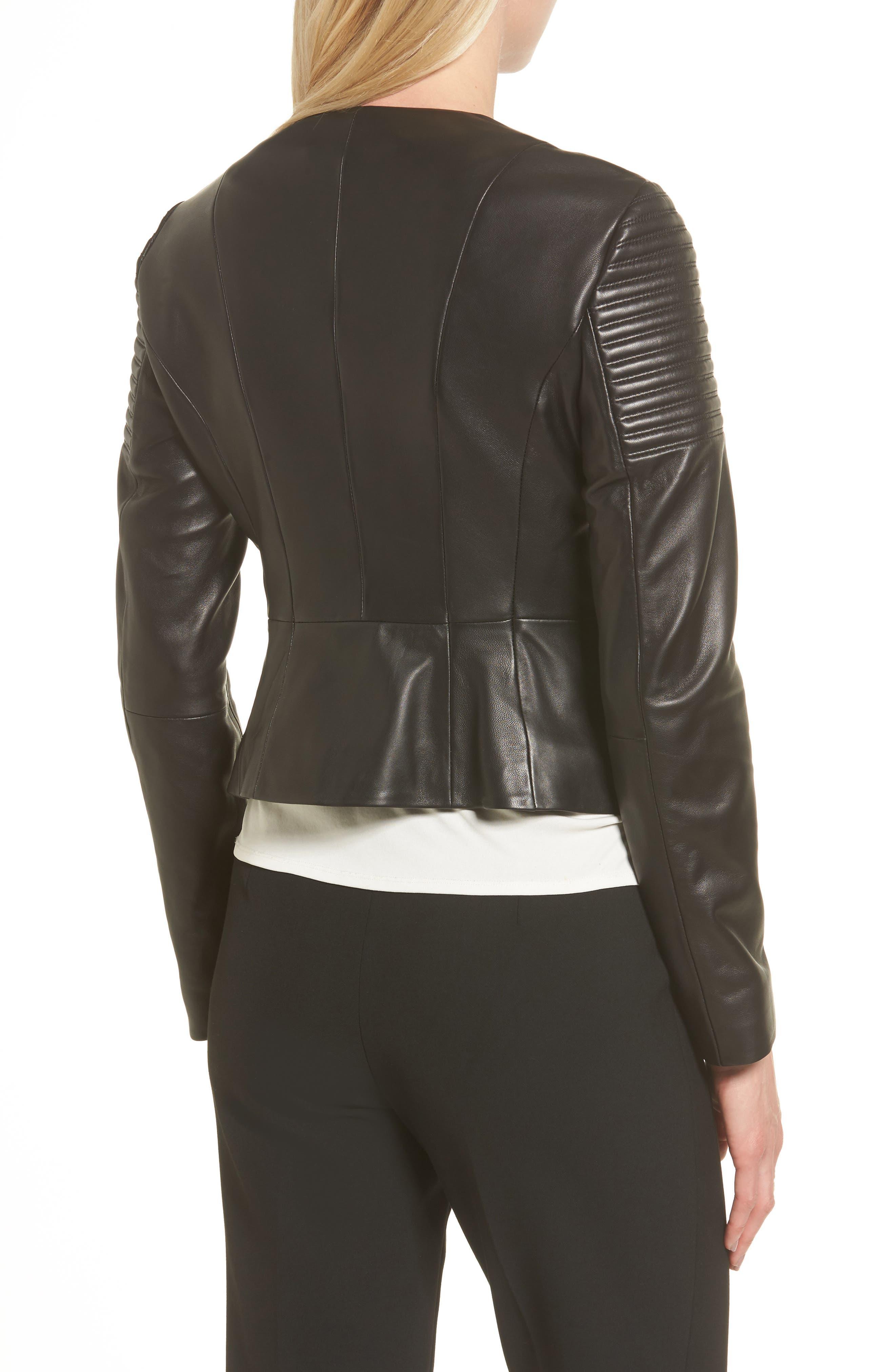 Sakumaya Leather Jacket,                             Alternate thumbnail 2, color,                             Black