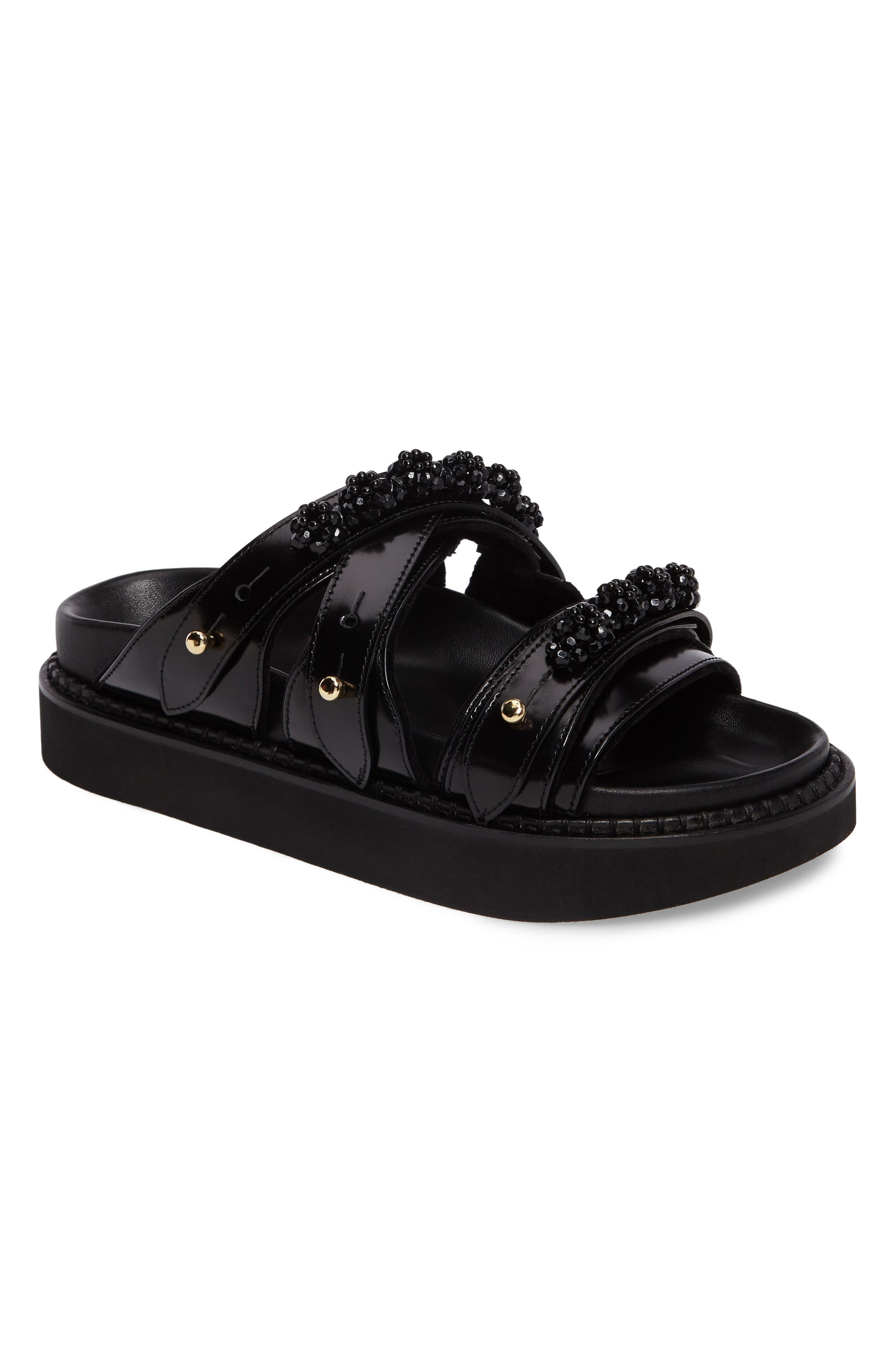 Beaded Leather Slide Sandal,                             Main thumbnail 1, color,                             Black