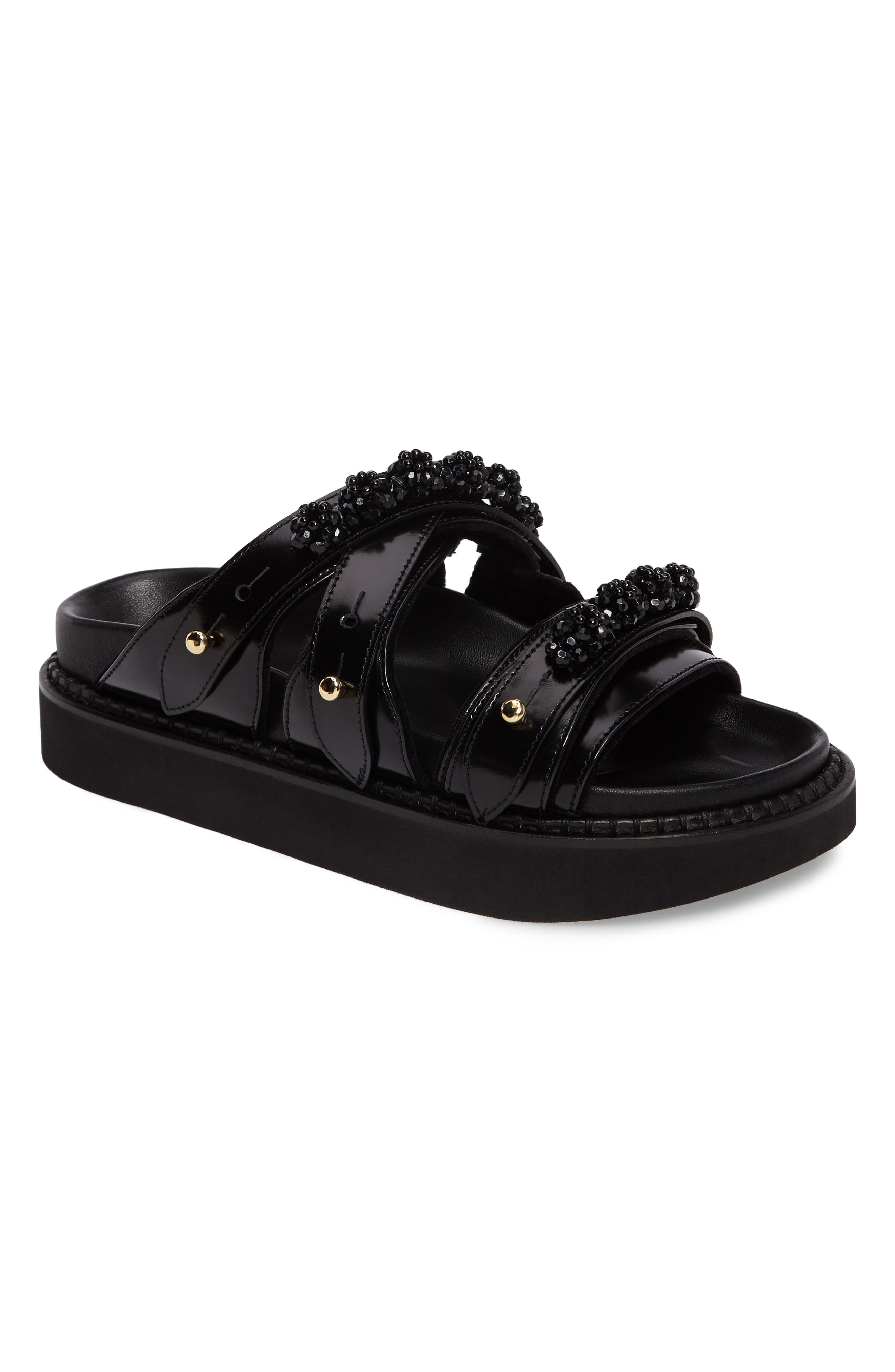 Beaded Leather Slide Sandal,                         Main,                         color, Black