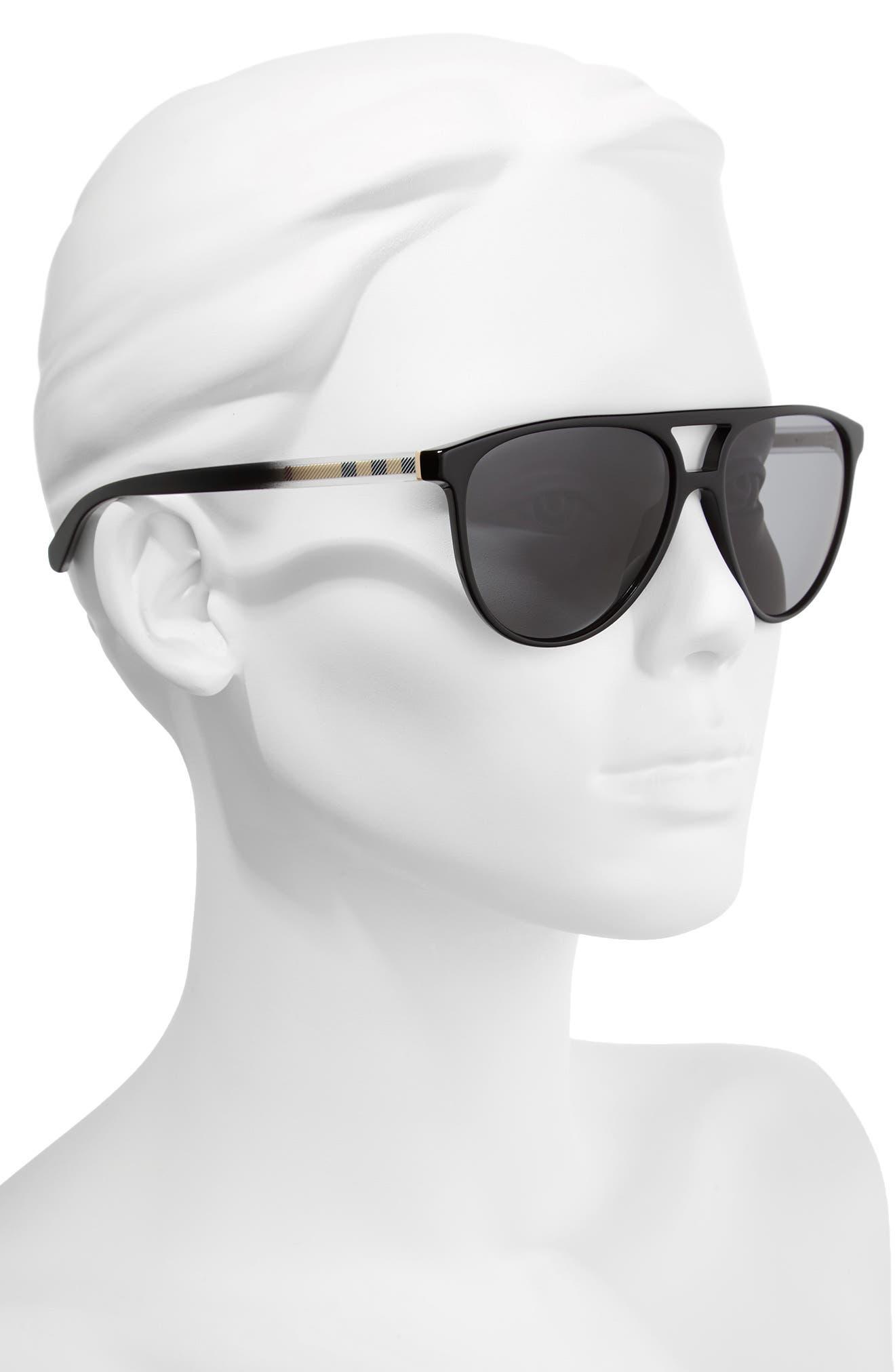 58mm Polarized Aviator Sunglasses,                             Alternate thumbnail 2, color,                             Black/ Polar