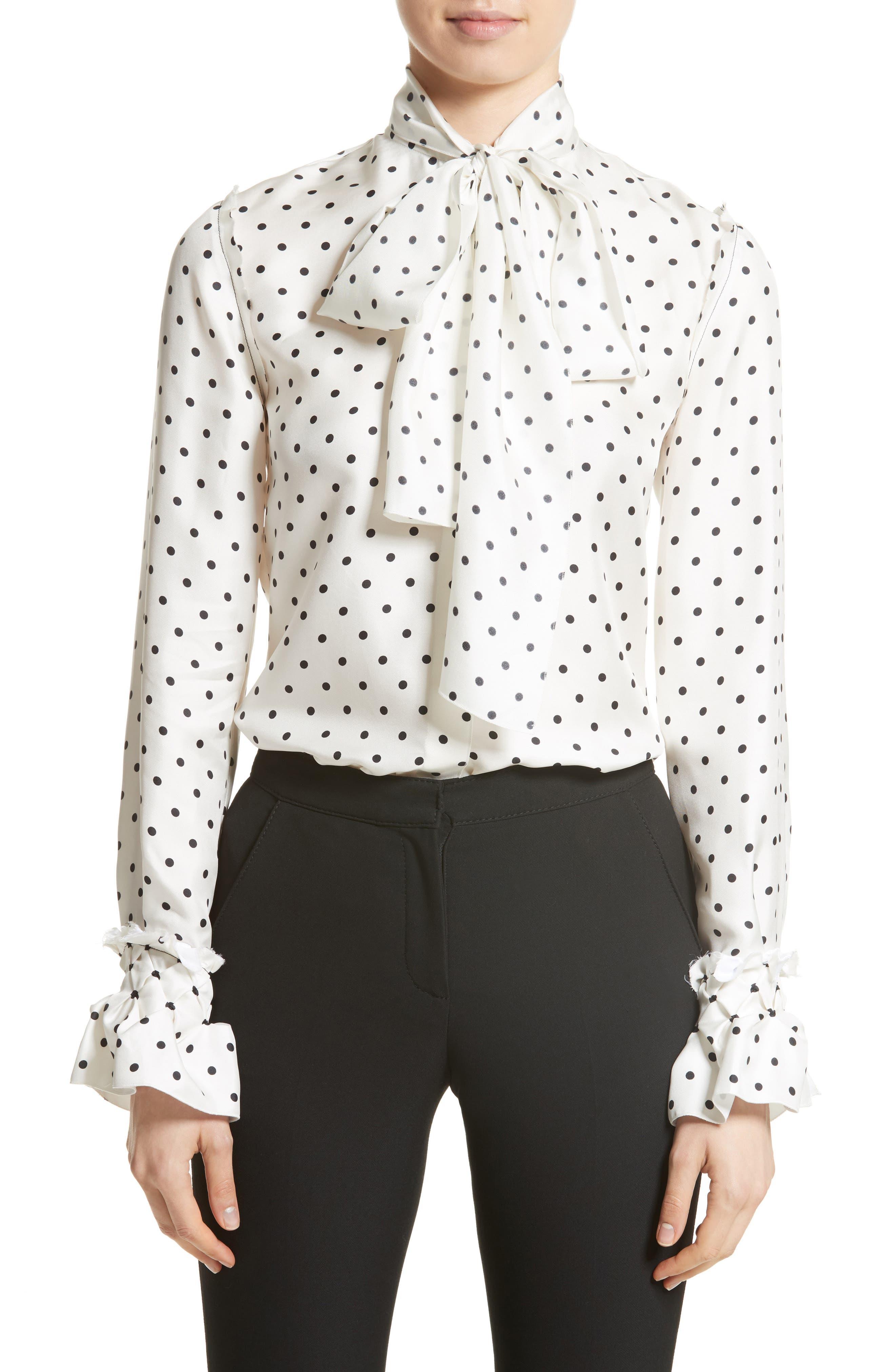 Polka Dot Tie Neck Silk Blouse,                         Main,                         color, White