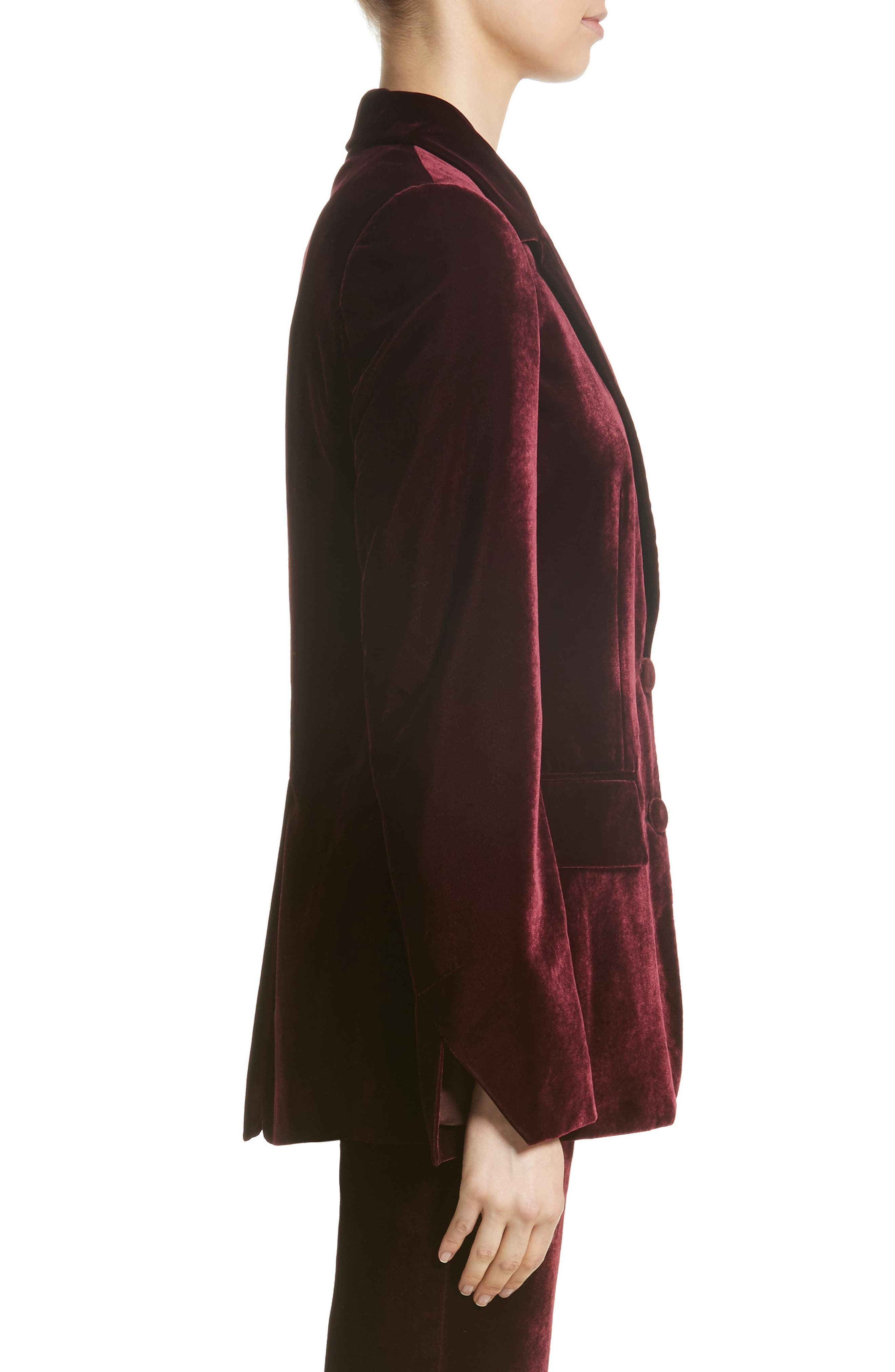 Bonded Velvet Jacket,                             Alternate thumbnail 4, color,                             Burgundy