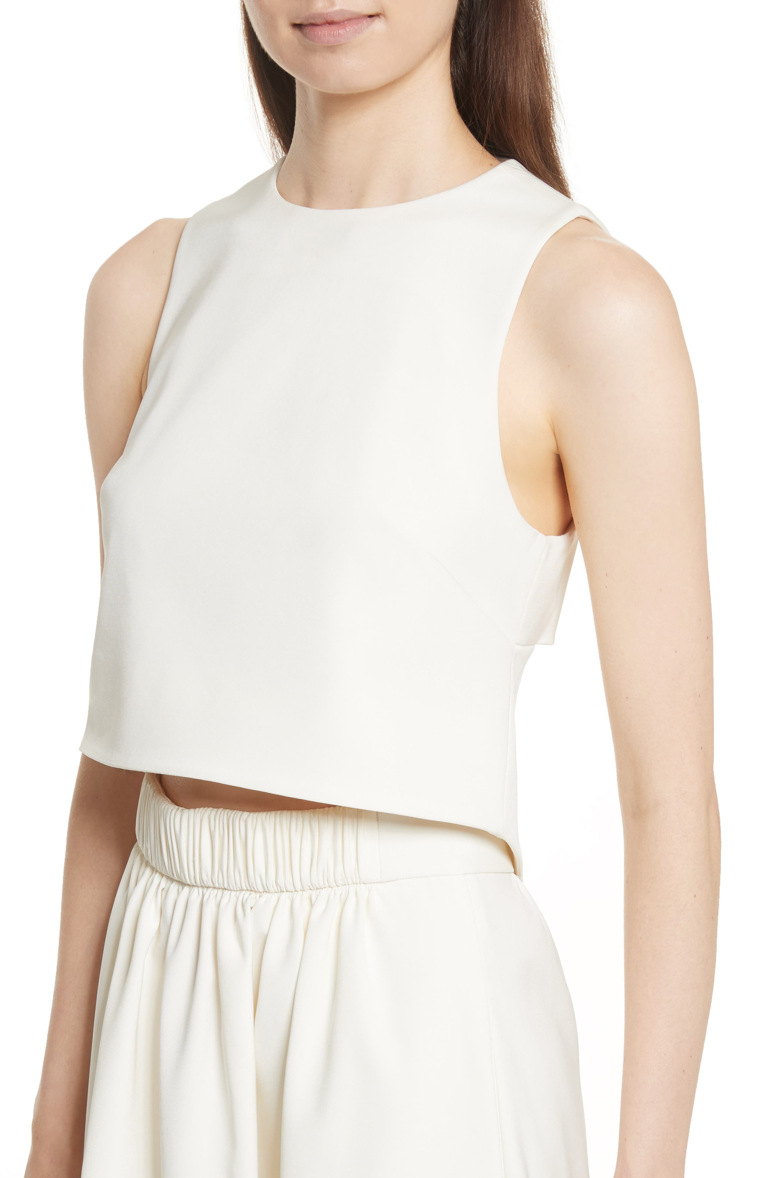 Cutout Back Stretch Faille Top,                             Alternate thumbnail 4, color,                             Ivory