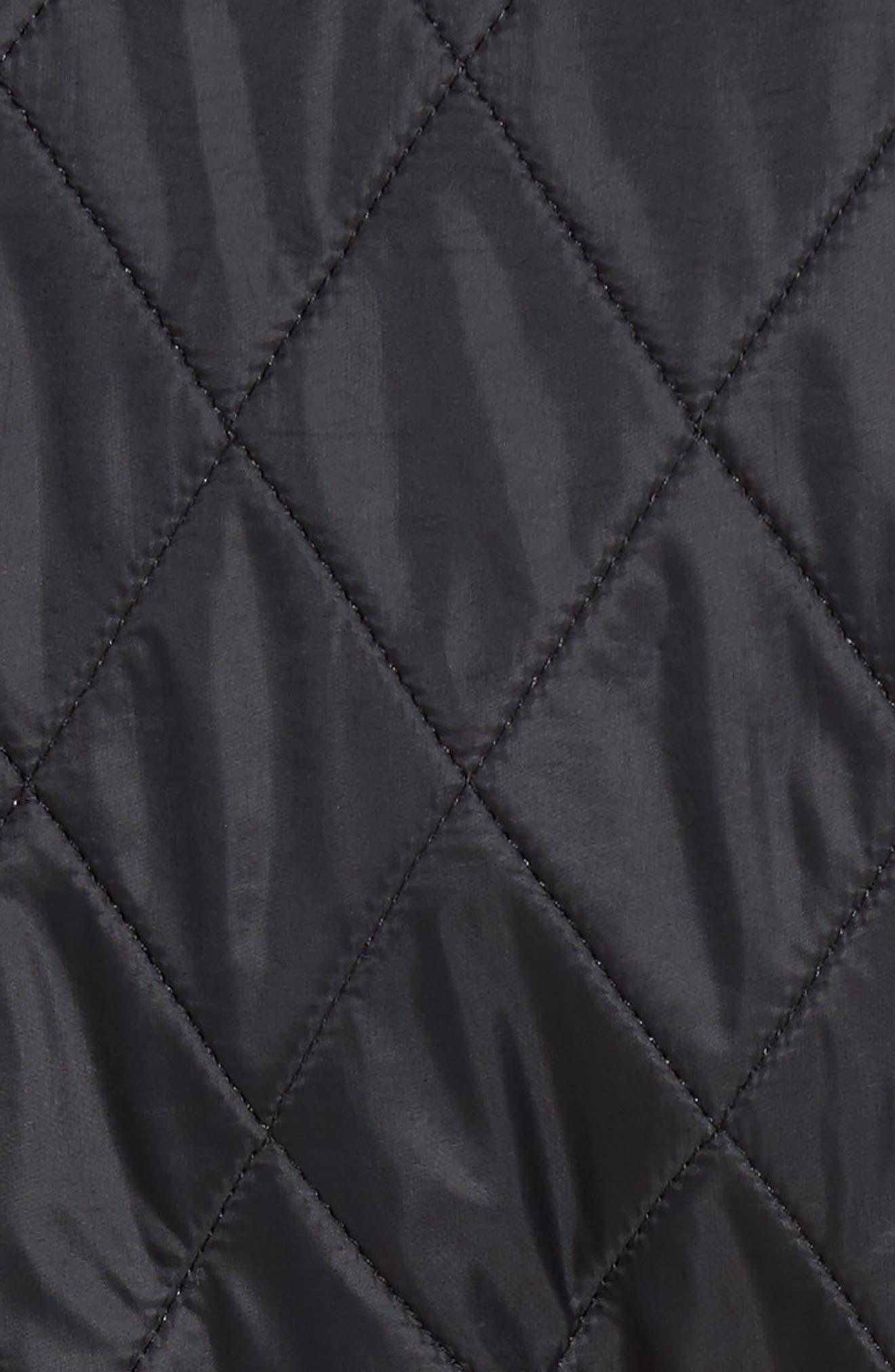 Water Resistant Polarquilt Moto Jacket,                             Alternate thumbnail 6, color,                             Black / Black