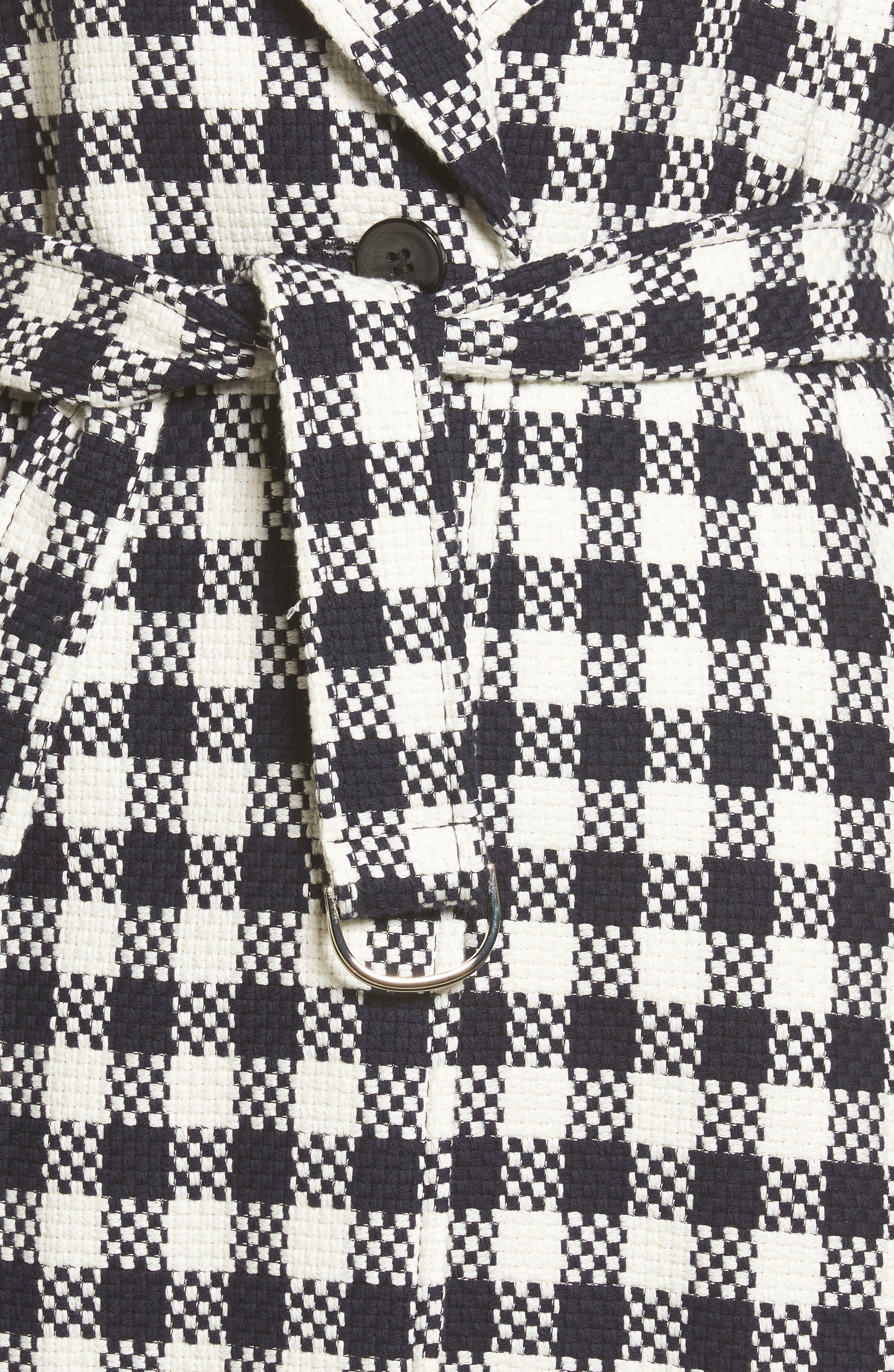 Cumarina Check Belted Check Coat,                             Alternate thumbnail 5, color,                             Navy Fantasy