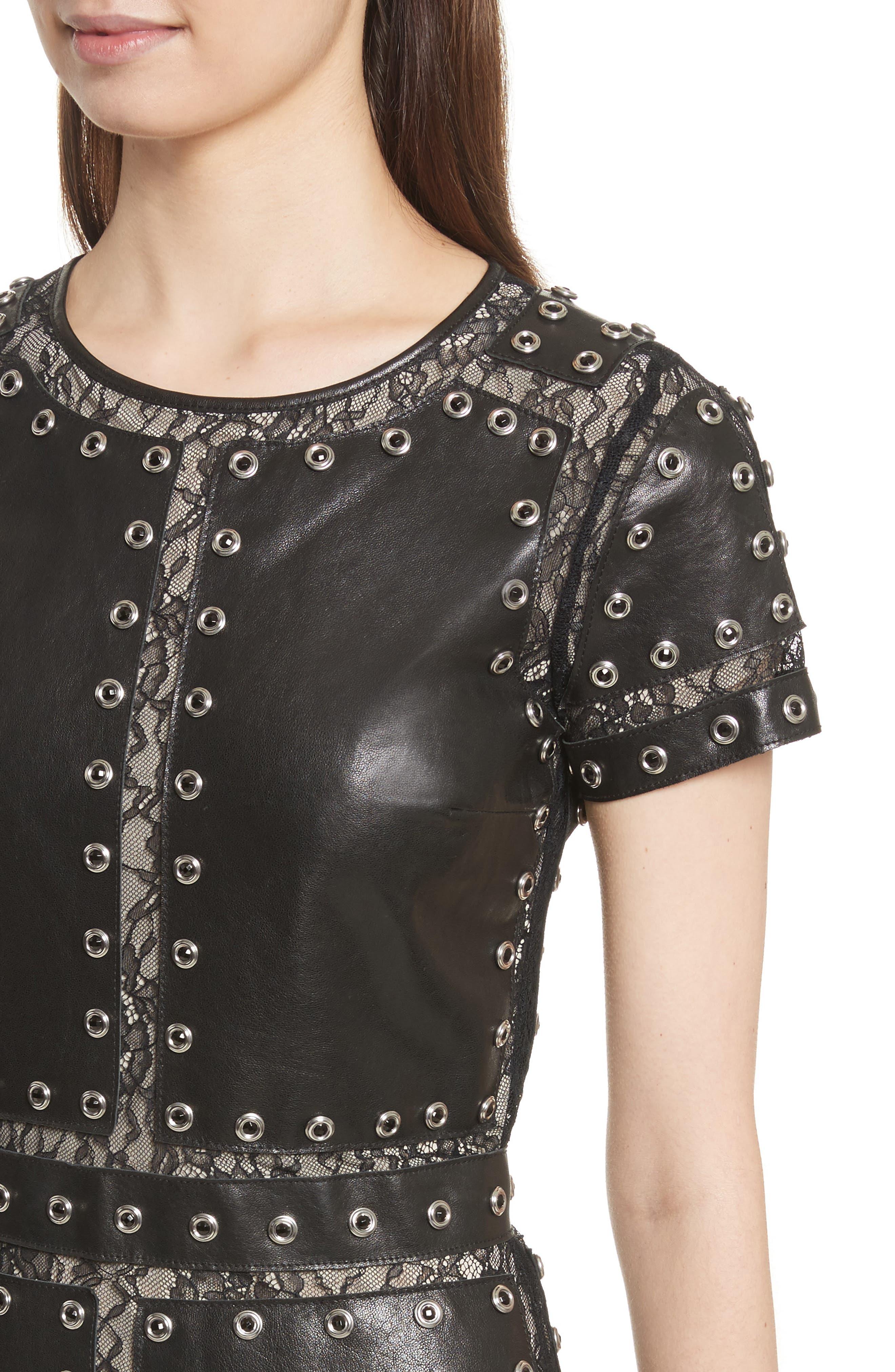 Tahlia Embellished Leather Panel A-Line Dress,                             Alternate thumbnail 4, color,                             Black