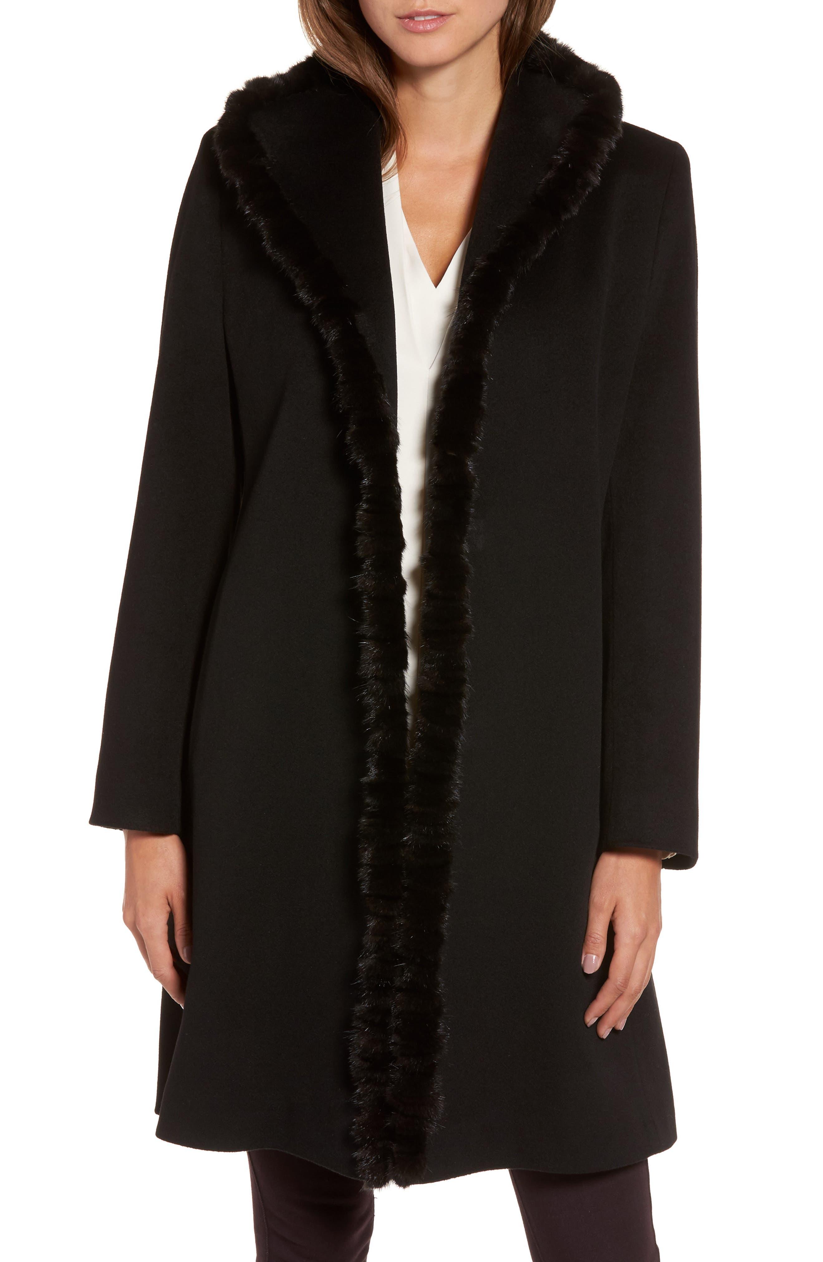 Loro Piana Wool Wing Collar Coat with Genuine Mink Trim,                             Main thumbnail 1, color,                             Black