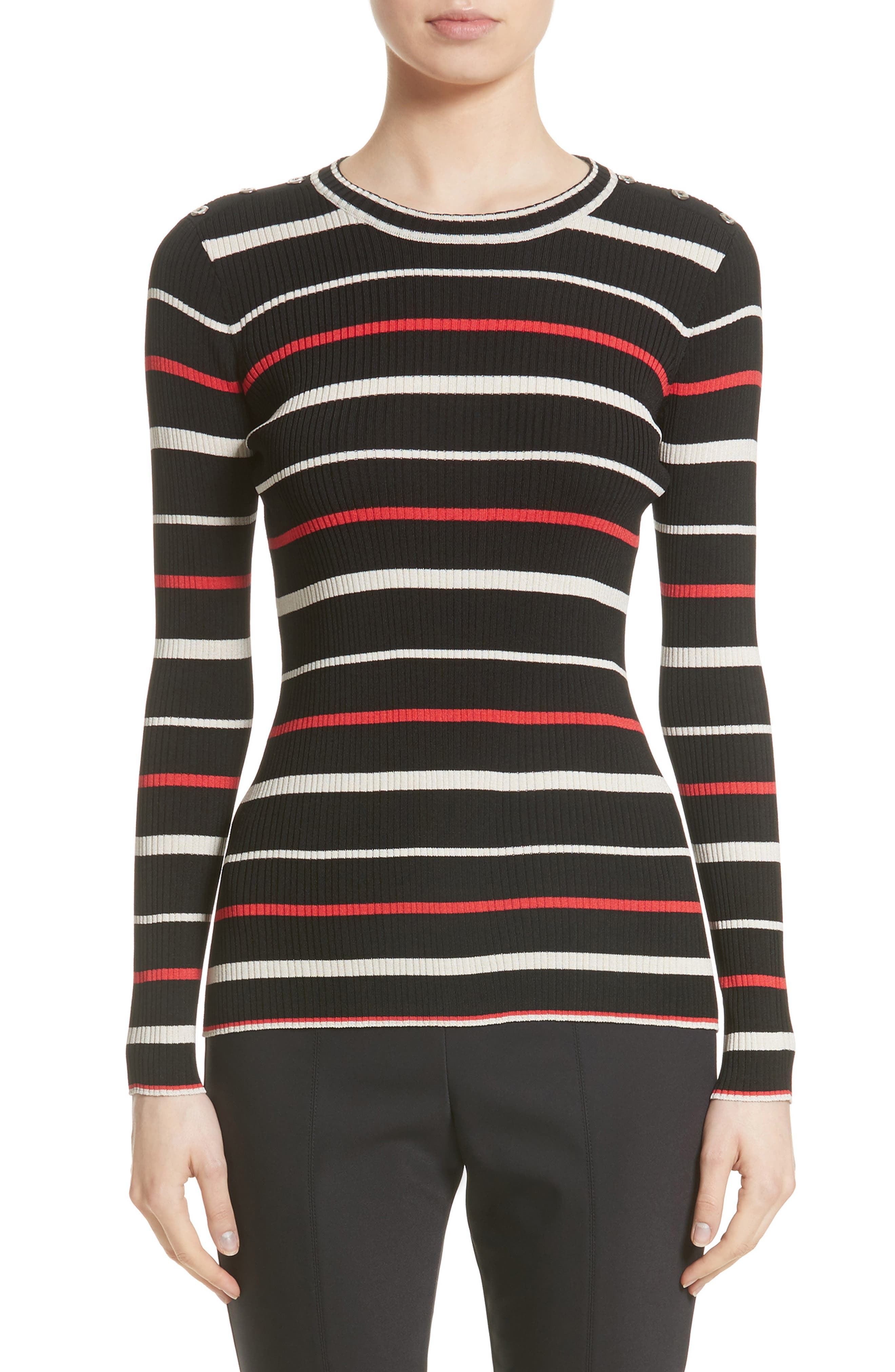ST. JOHN COLLECTION Multicolor Stripe Knit Top