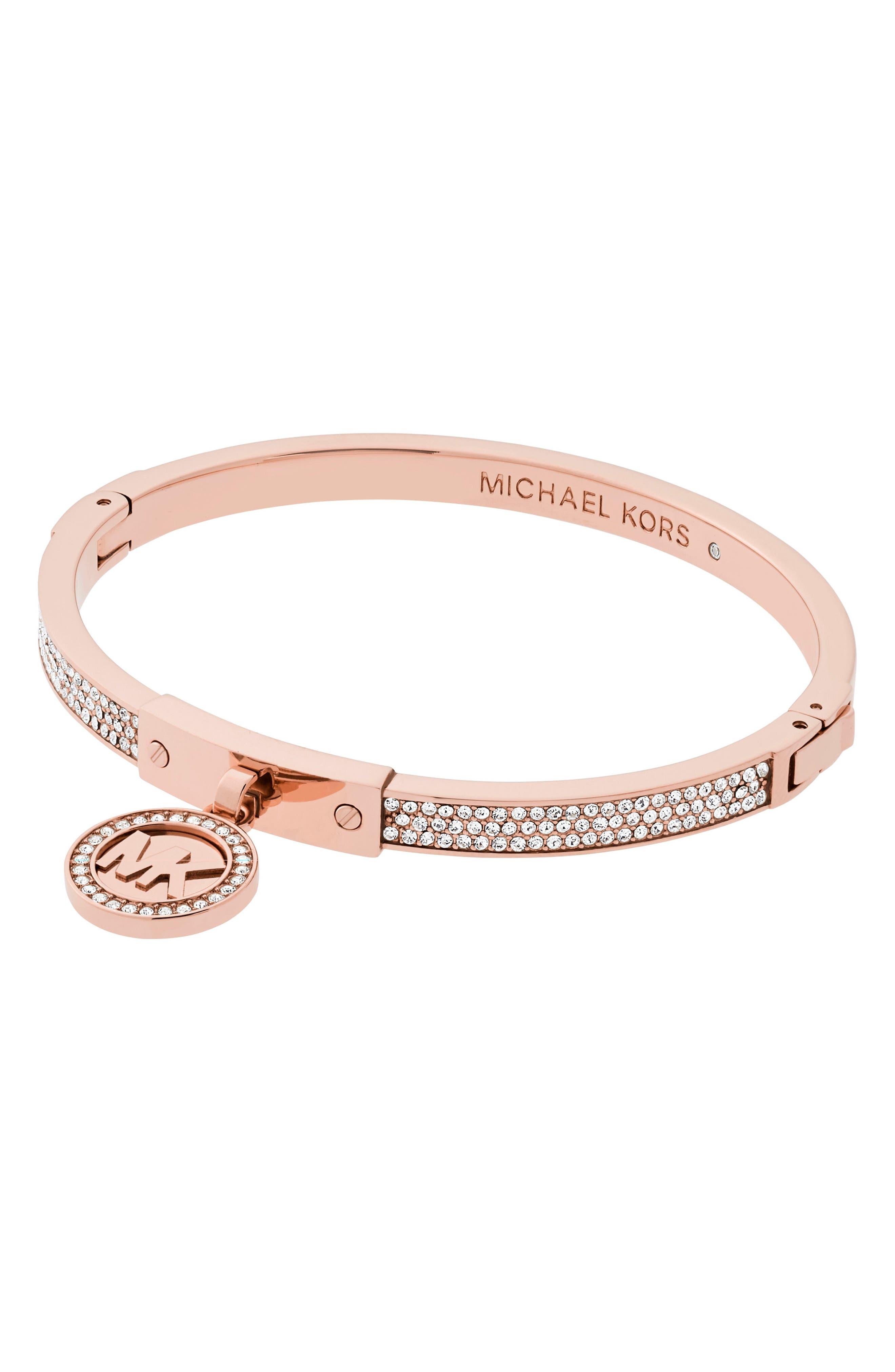 Crystal Bracelet,                         Main,                         color, Rose Gold