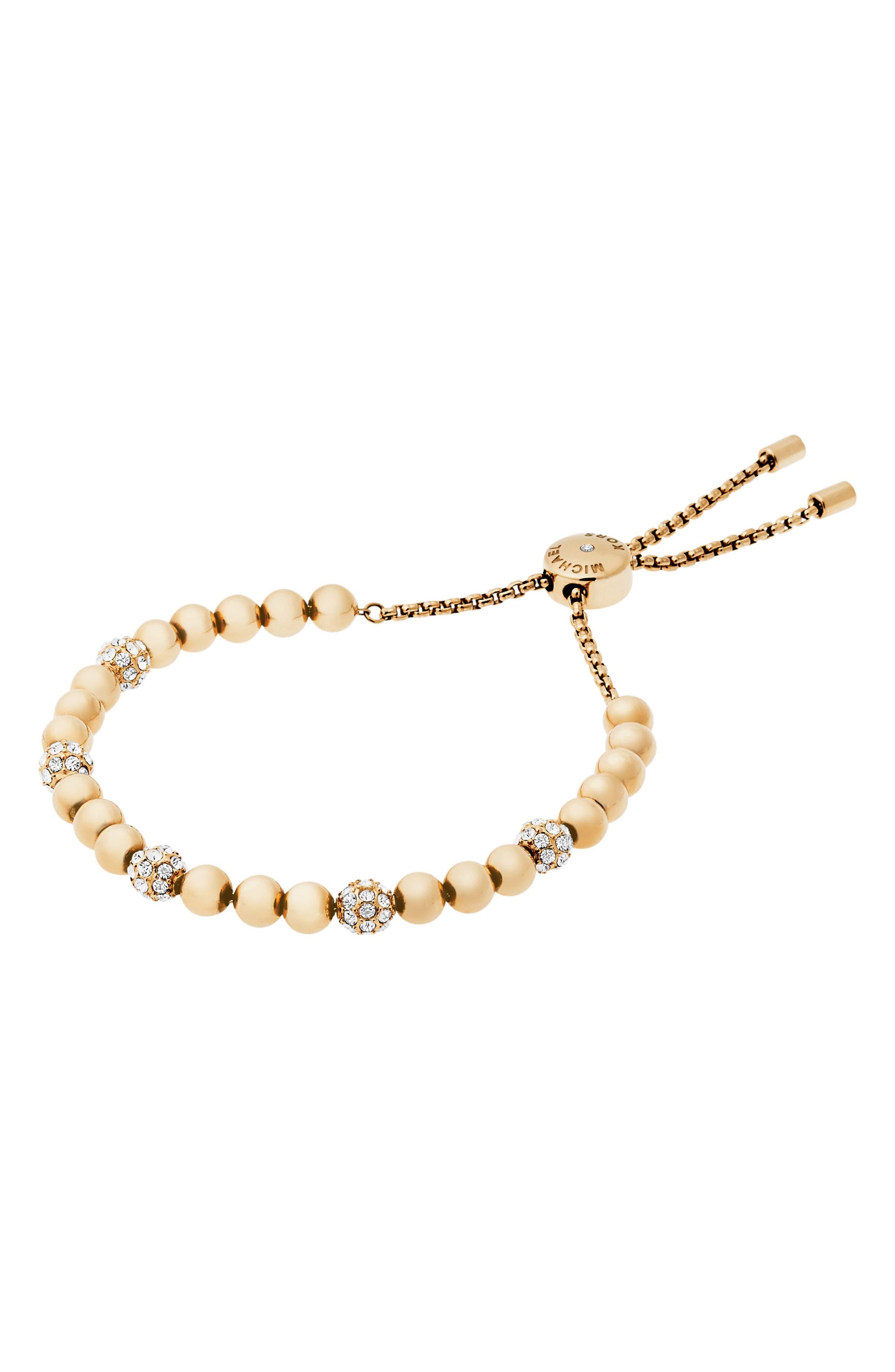 Beaded Bracelet,                         Main,                         color, Gold