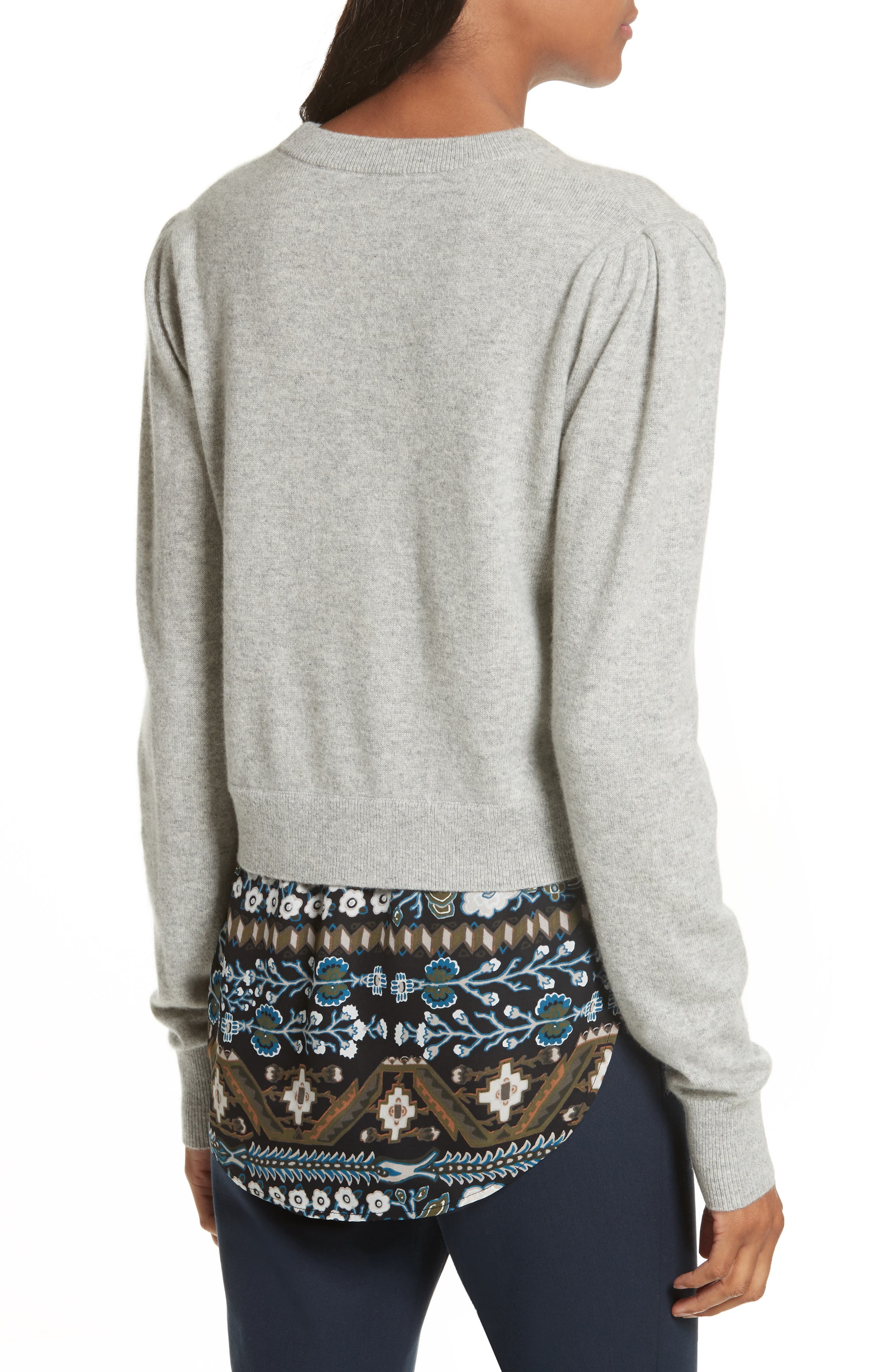 Jenson Layered Hem Cashmere Sweater,                             Alternate thumbnail 2, color,                             Grey/ Army/ Black Aztec Print