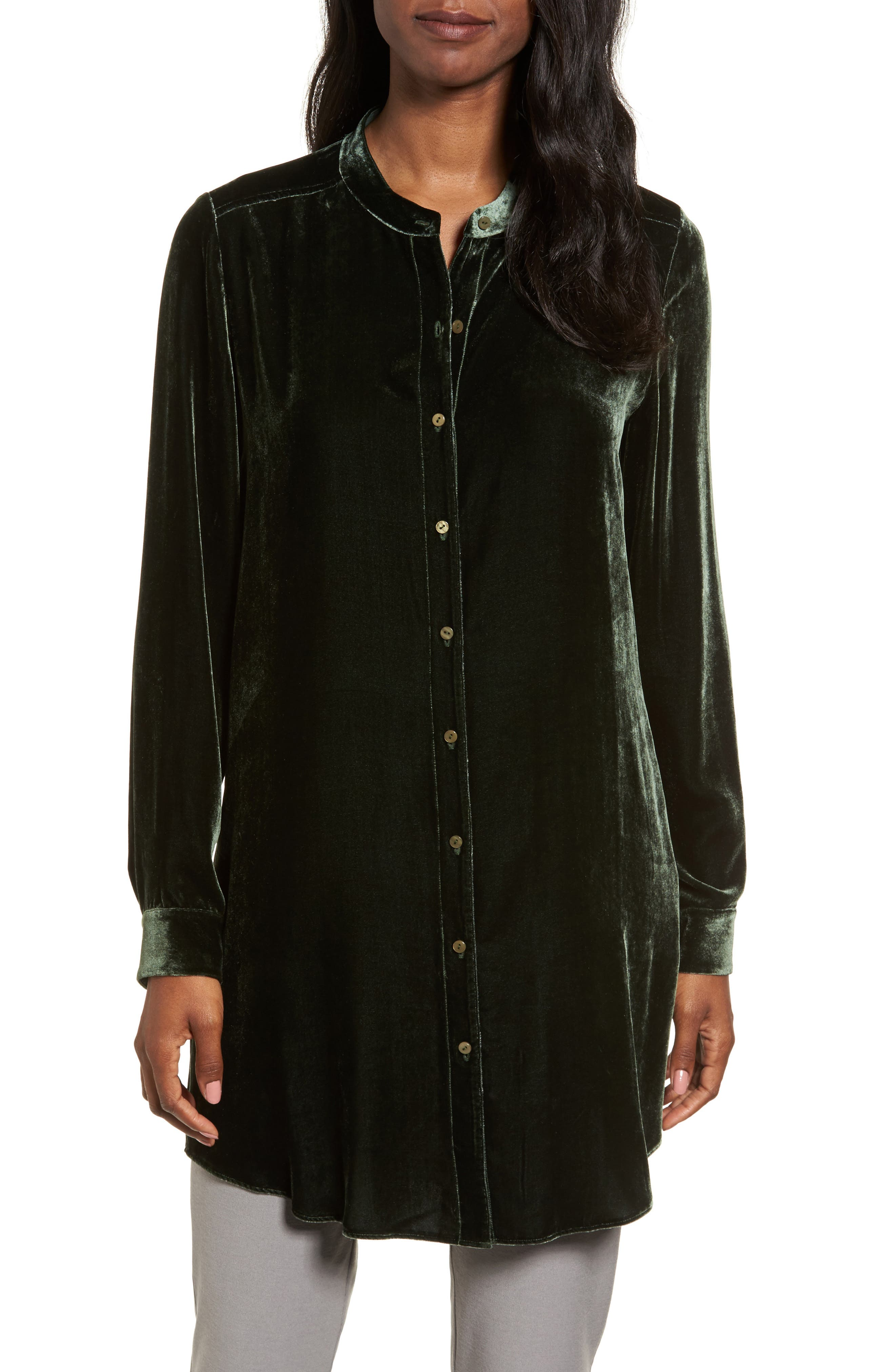 Eileen Fisher Long Velvet Shirt