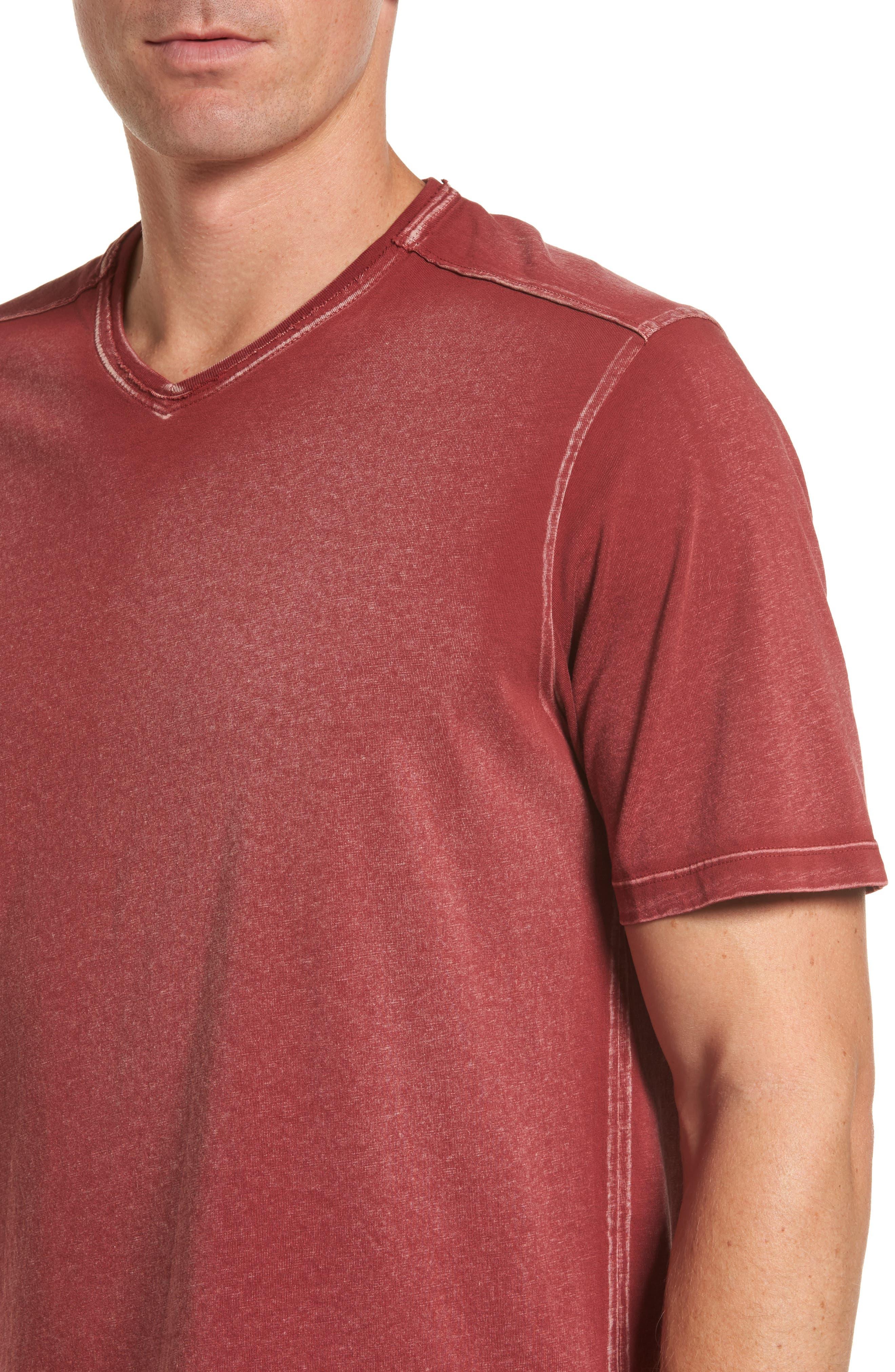 'Kahuna' V-Neck T-Shirt,                             Alternate thumbnail 4, color,                             Ruby Wine