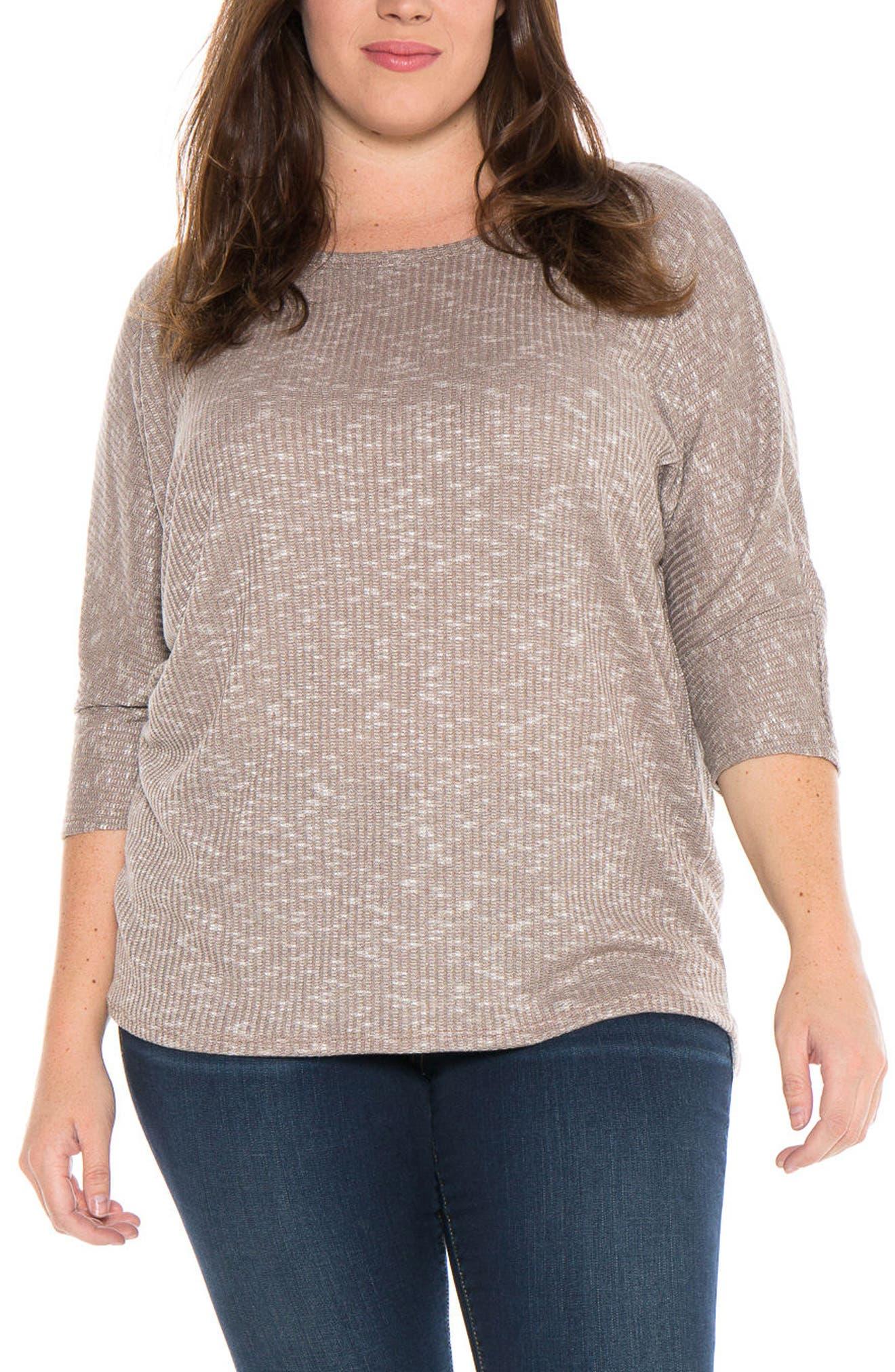 SLINK Jeans Marble Knit Dolman Top (Plus Size)