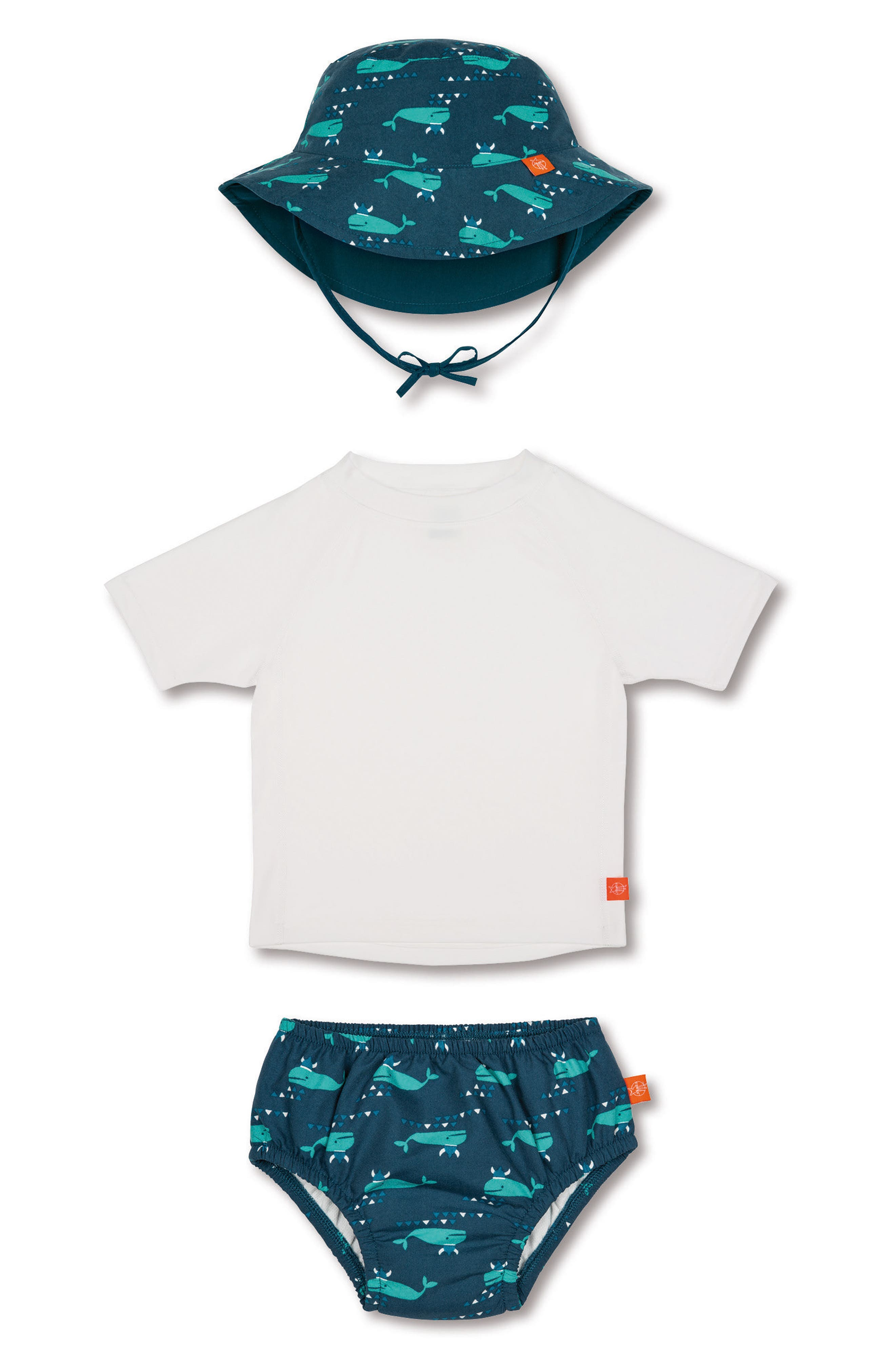 Lassig Two-Piece Rashguard Swimsuit & Hat Set,                         Main,                         color, Blue Whale