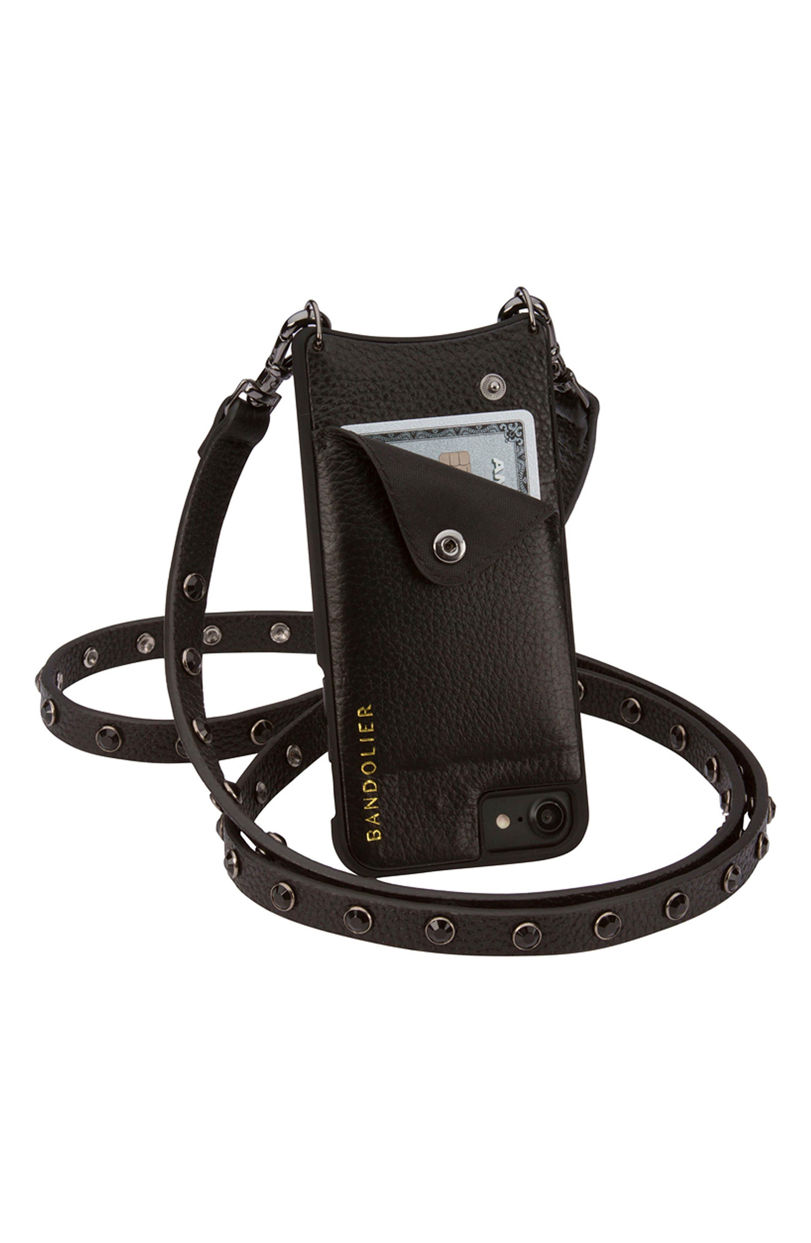 Jules Leather iPhone 6/7/8 & 6/7/8 Plus Crossbody Case,                             Alternate thumbnail 6, color,                             Black/ Pewter