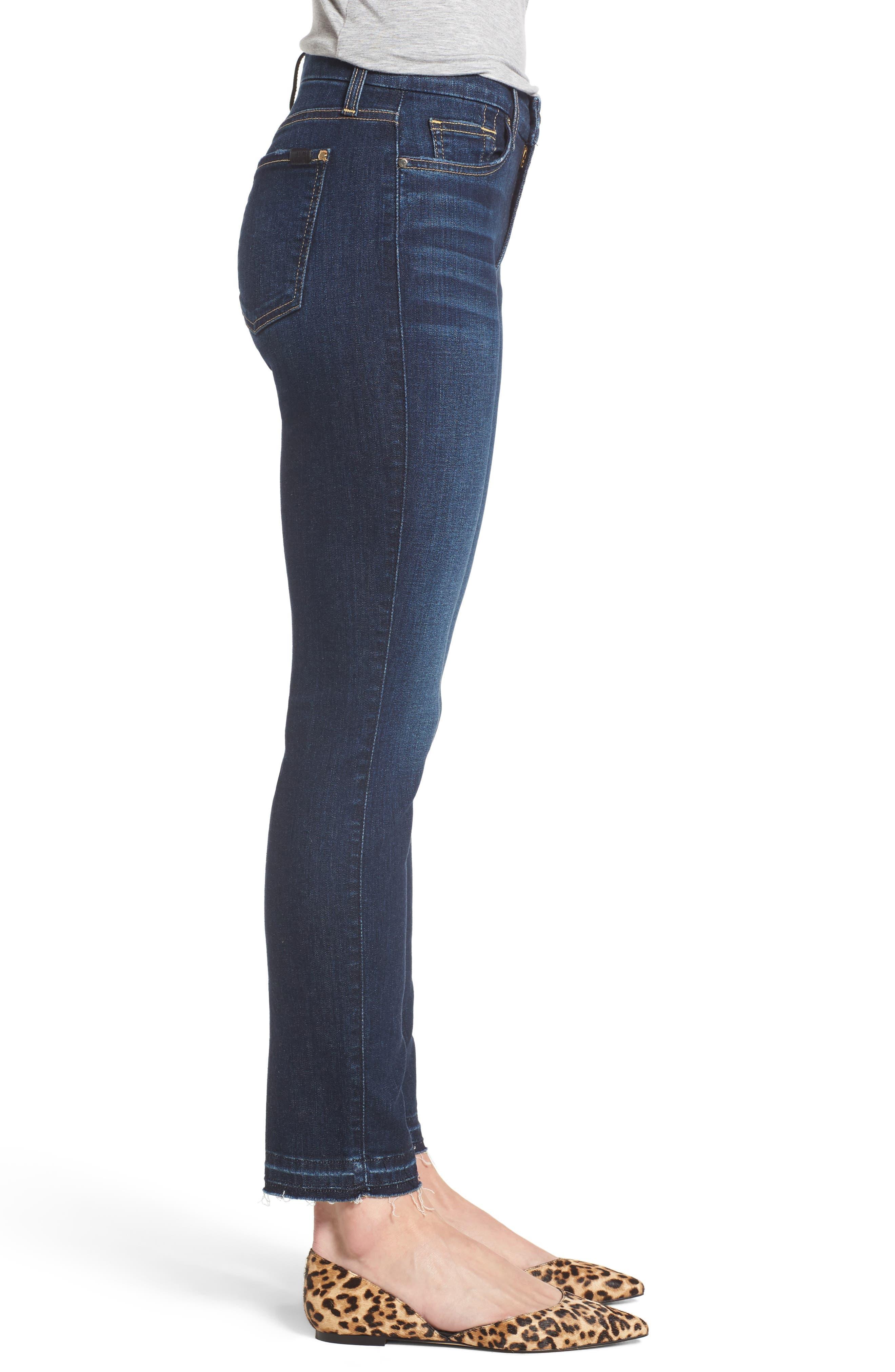 Release Hem Stretch Ankle Skinny Jeans,                             Alternate thumbnail 3, color,                             Prague Deep Blue