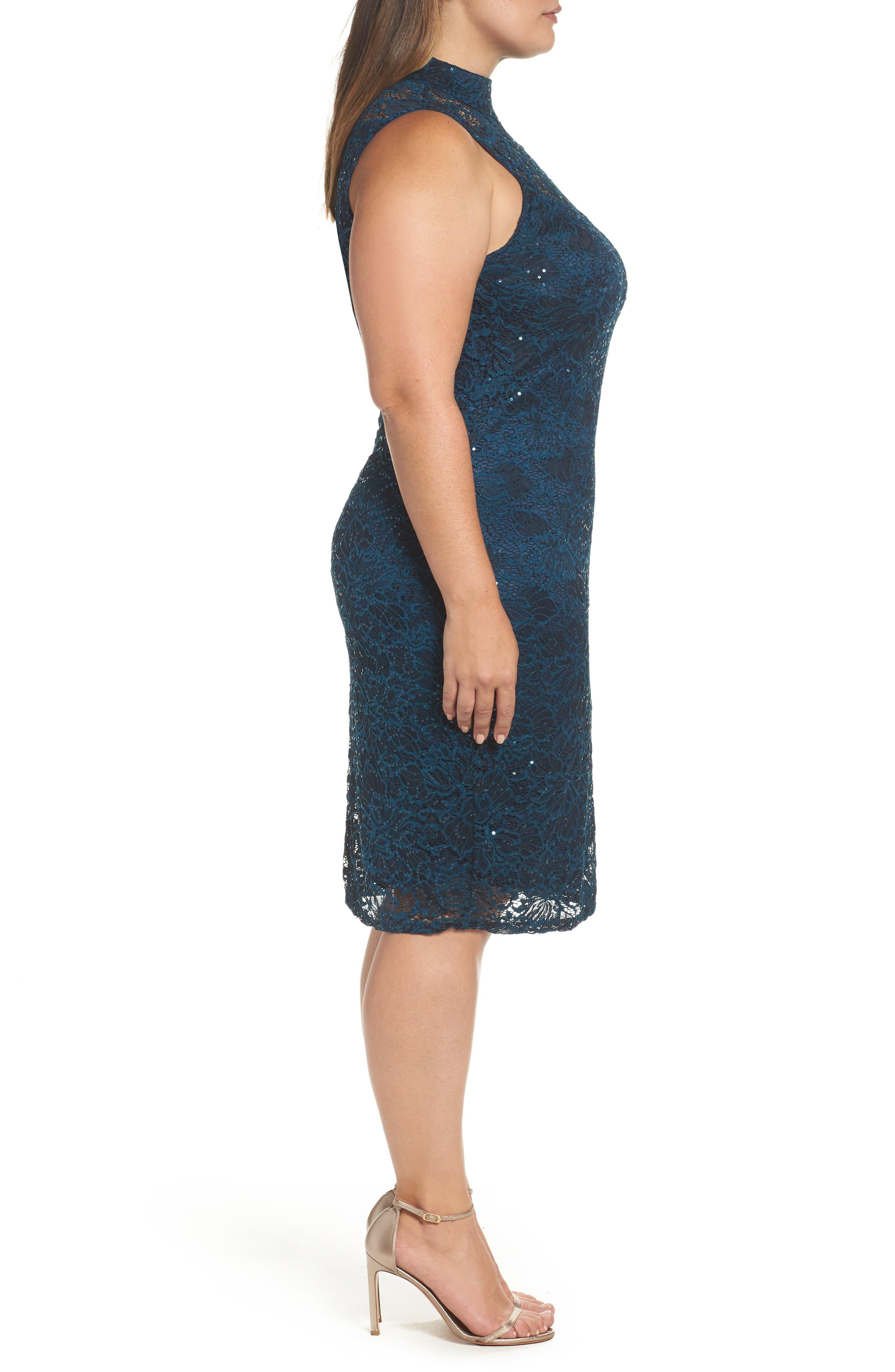 Sequin Lace Sheath Dress,                             Alternate thumbnail 3, color,                             Teal