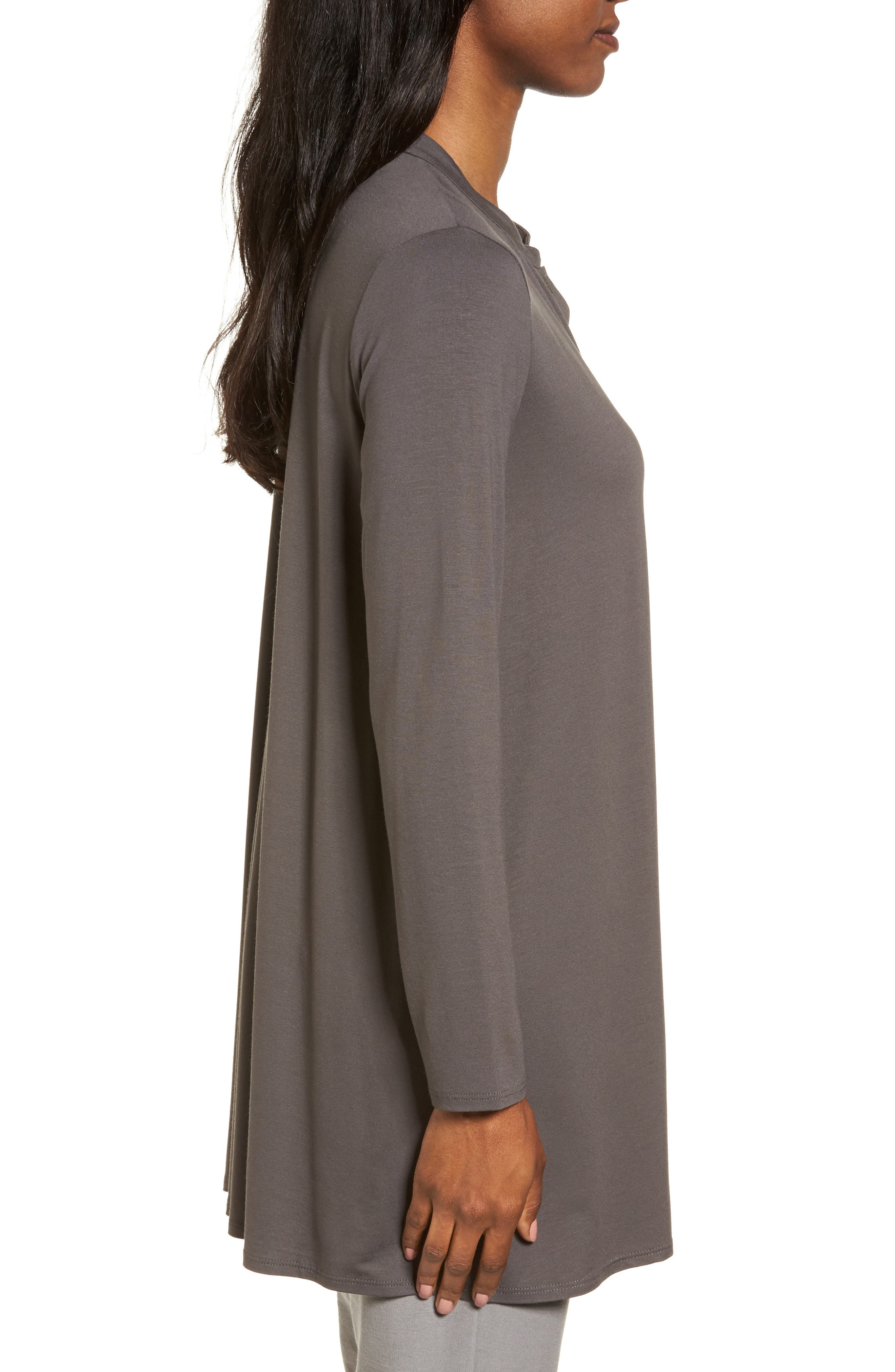 Button Front Jersey Tunic,                             Alternate thumbnail 3, color,                             Bark