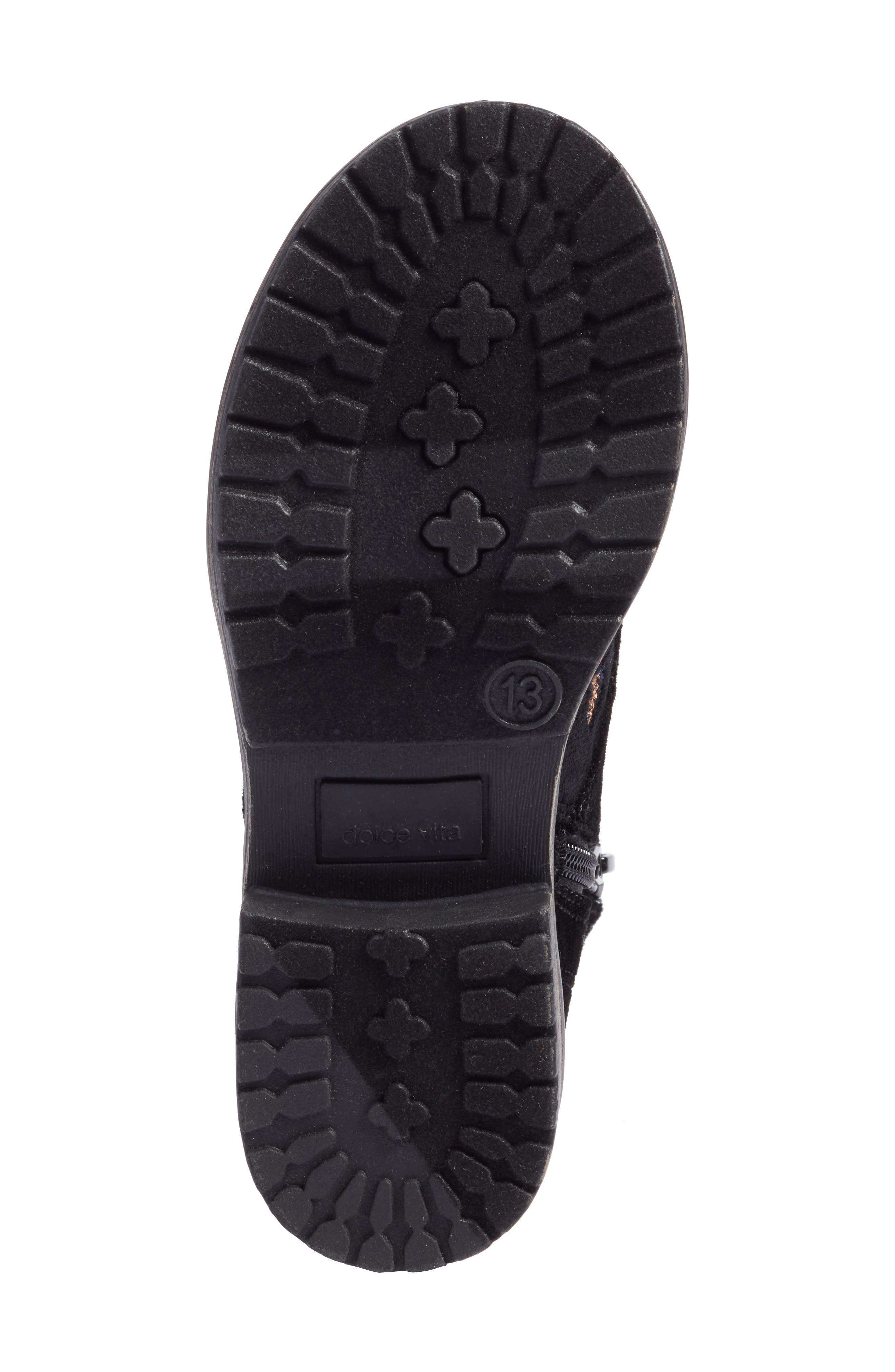 Lilla Combat Boot,                             Alternate thumbnail 6, color,                             Black Multi Velvet
