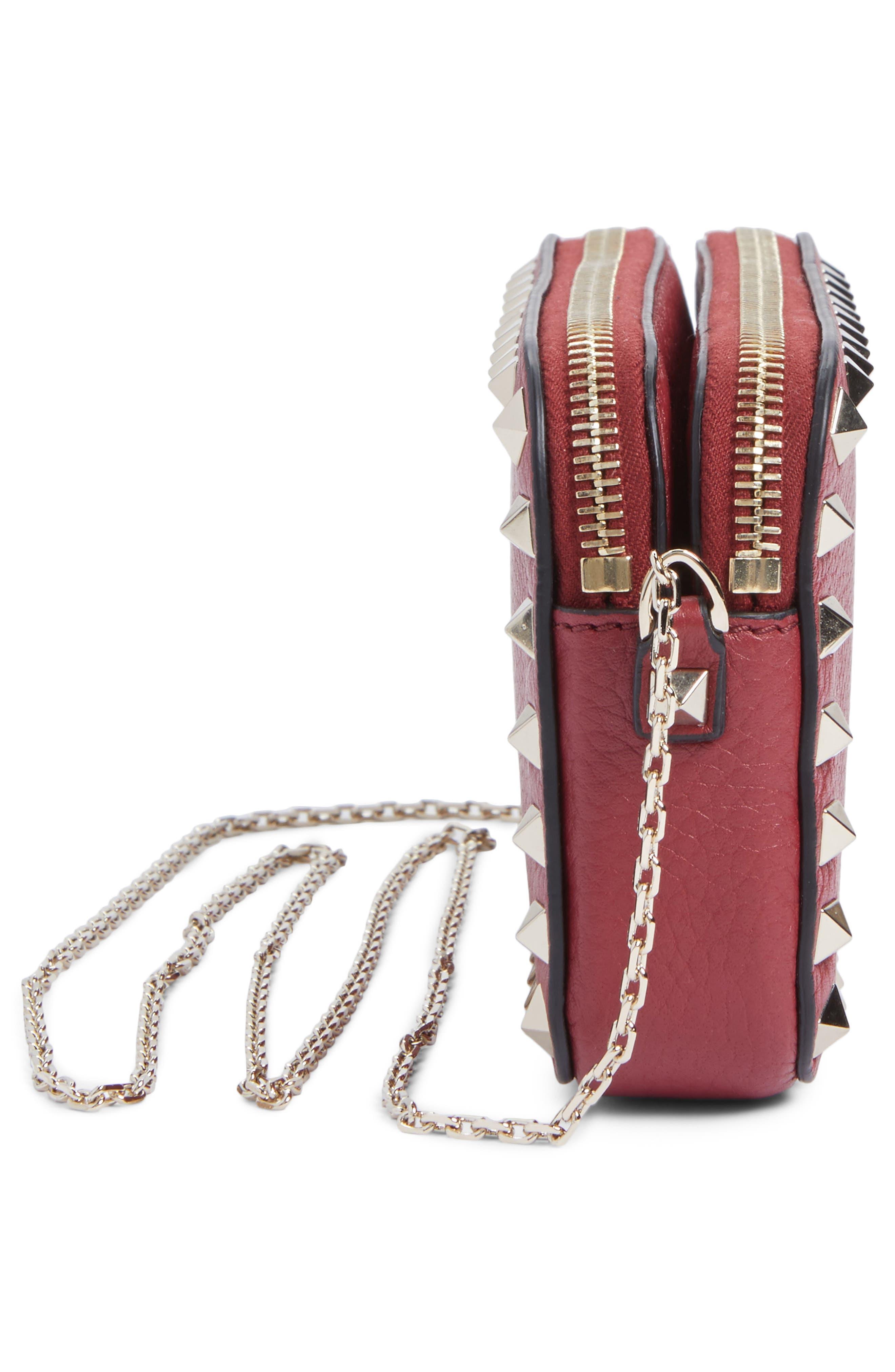 Rockstud Leather Crossbody Bag,                             Alternate thumbnail 3, color,                             Rubin