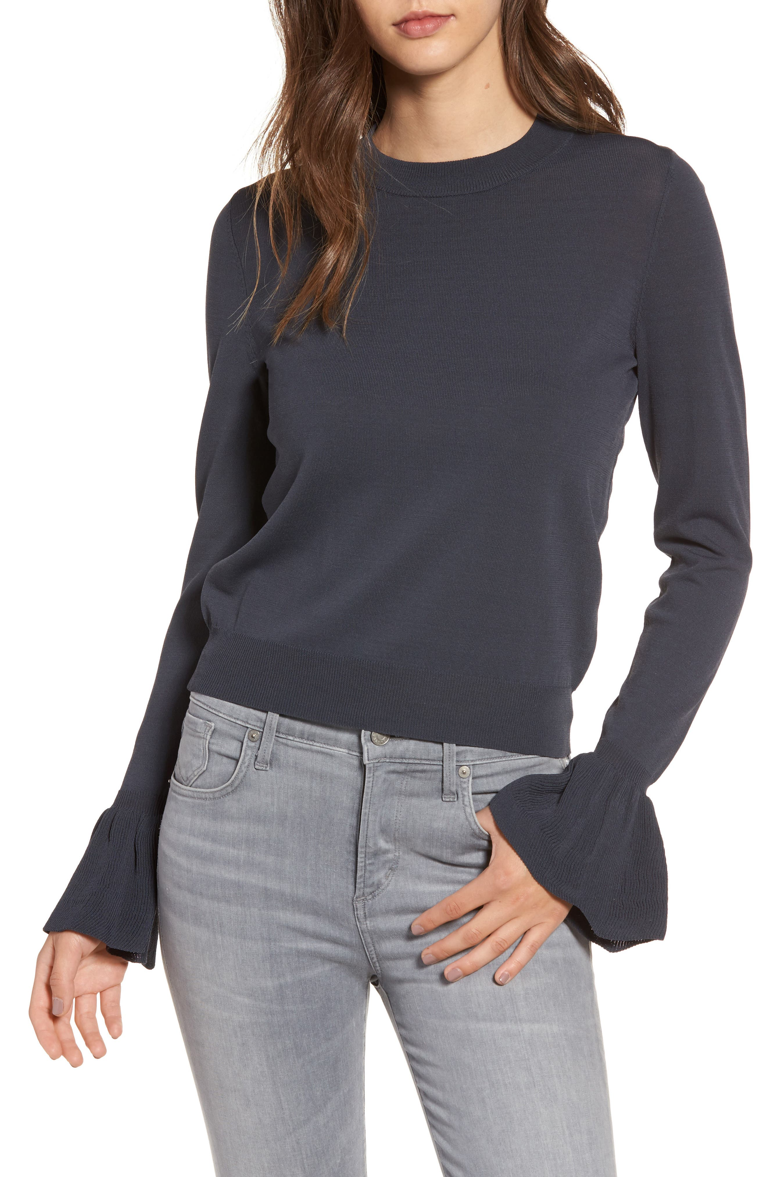 Flare Cuff Sweater,                         Main,                         color, Navy India Ink
