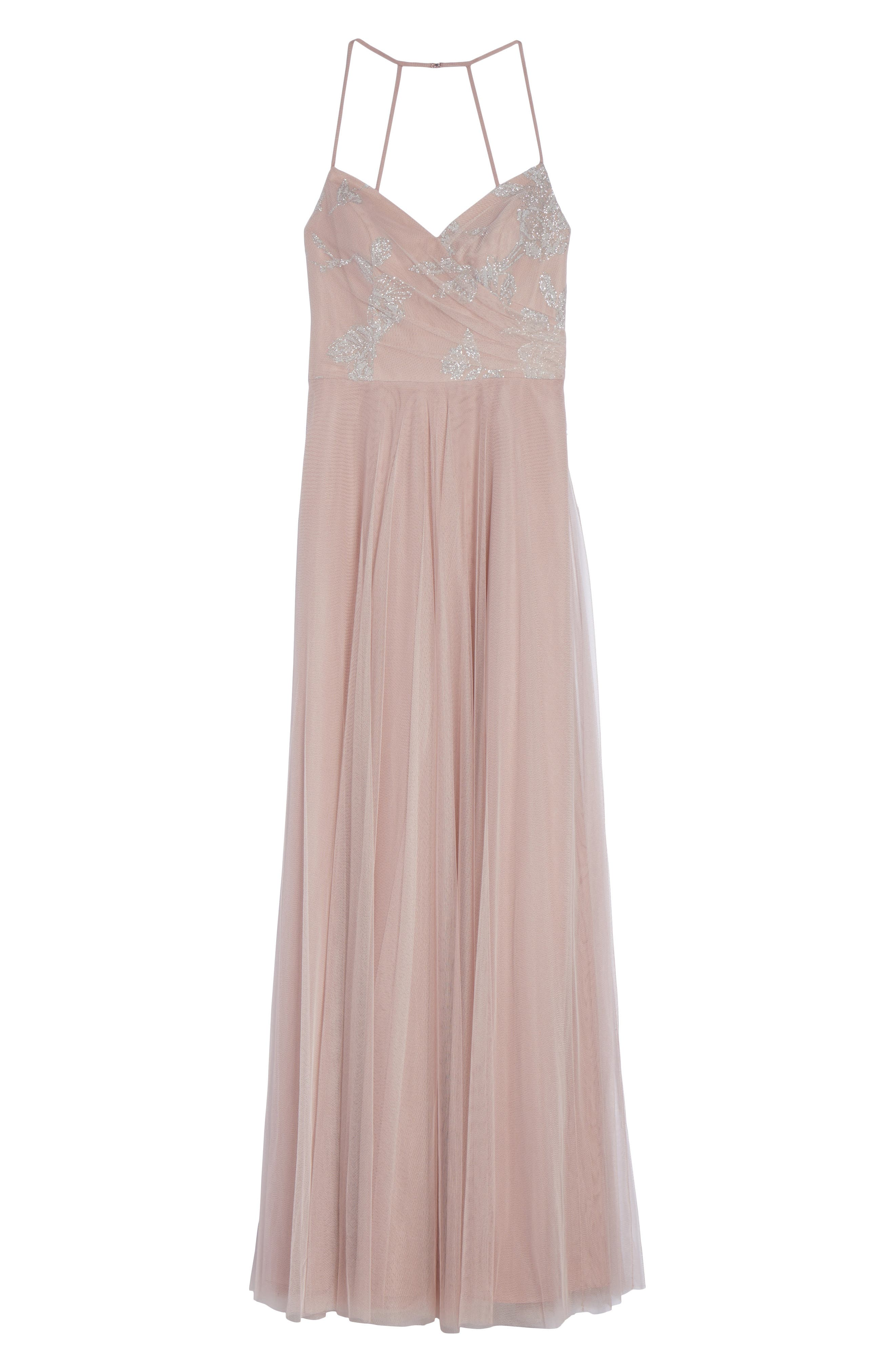 Alternate Image 6  - Hayley Paige Occasions Embellished Bodice Net Halter Gown
