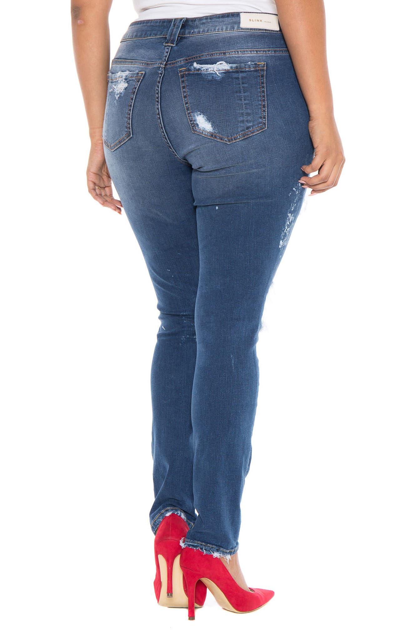 Alternate Image 2  - SLINK Destroyed Skinny Jeans (Plus Size)