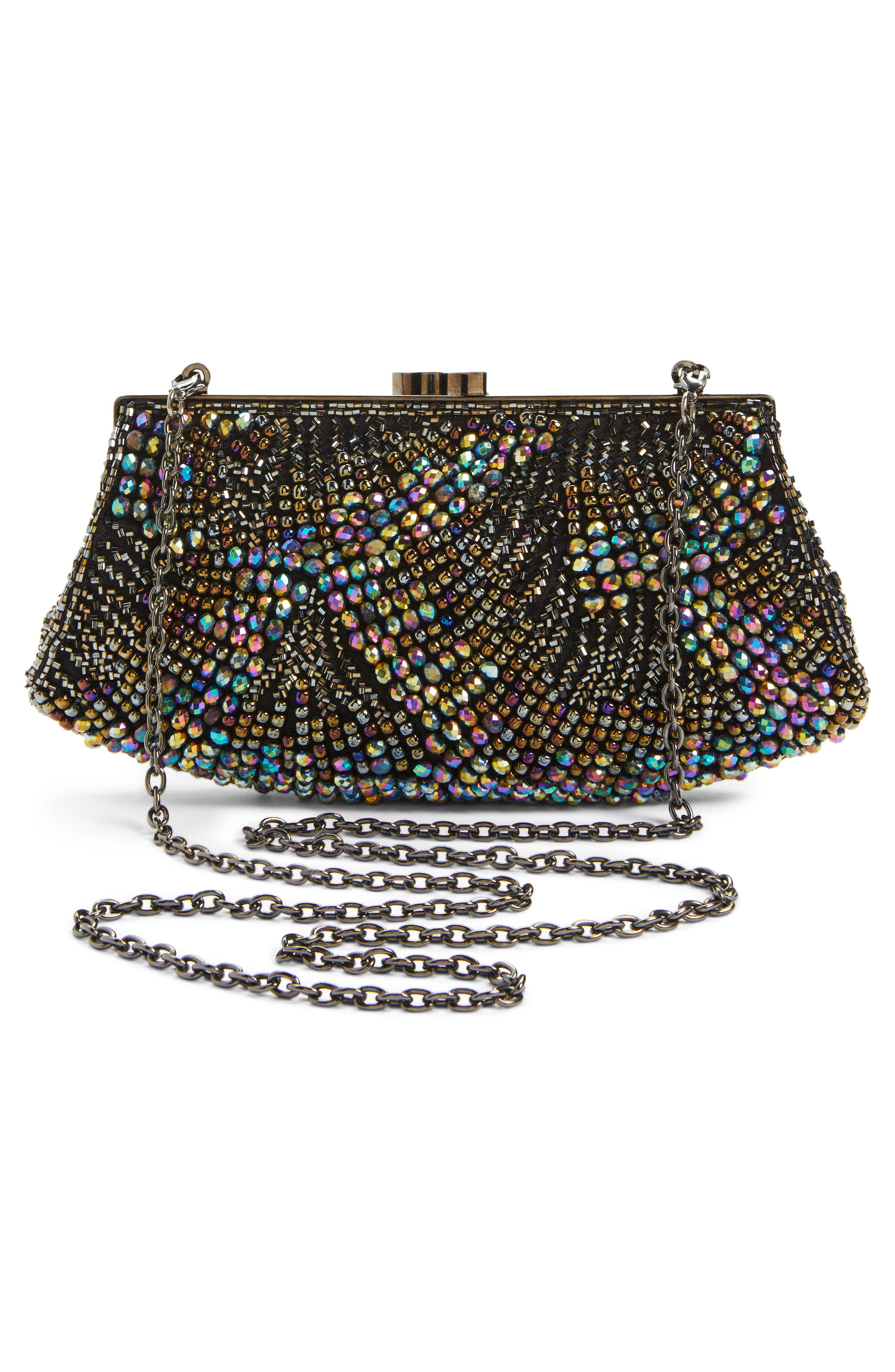 Alternate Image 3  - Nordstrom Faceted Fan Beaded Evening Clutch