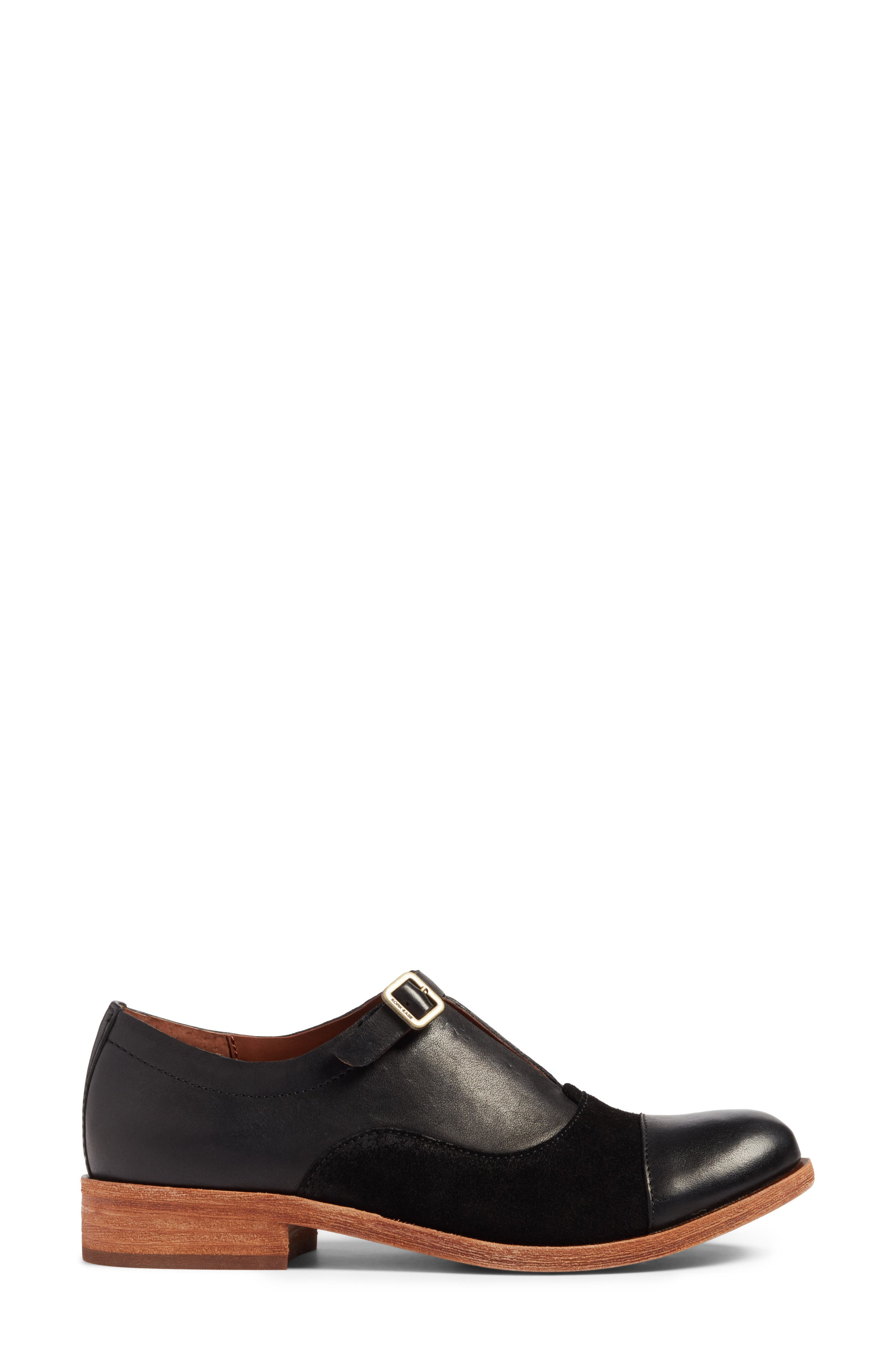 'Niseda' Oxford,                             Alternate thumbnail 4, color,                             Black Leather Suede Combo
