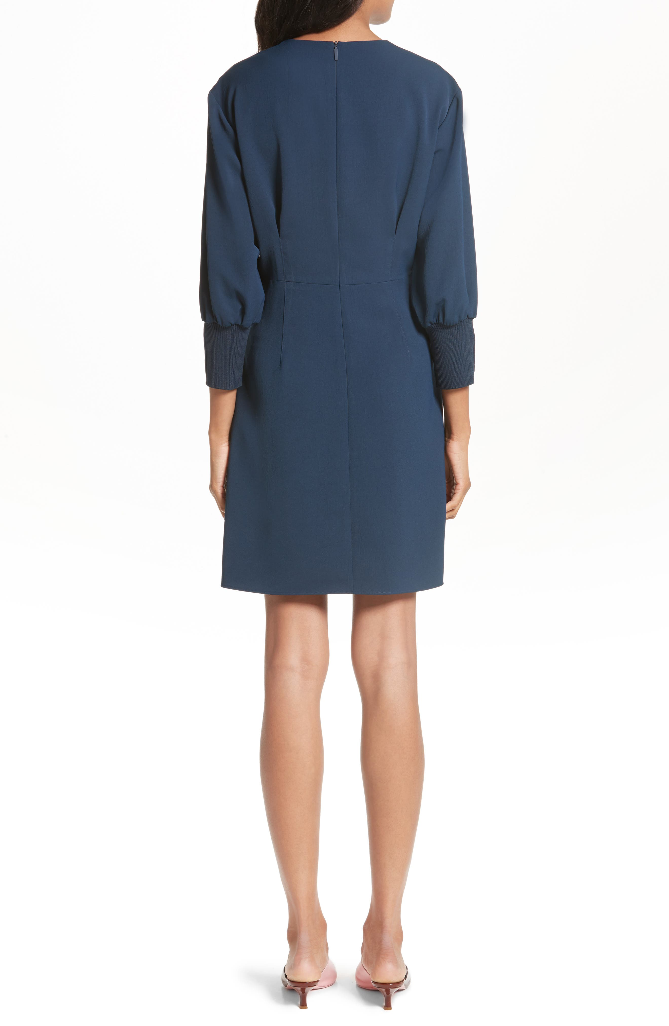 Lace-Up Draped Twill Dress,                             Alternate thumbnail 2, color,                             Navy