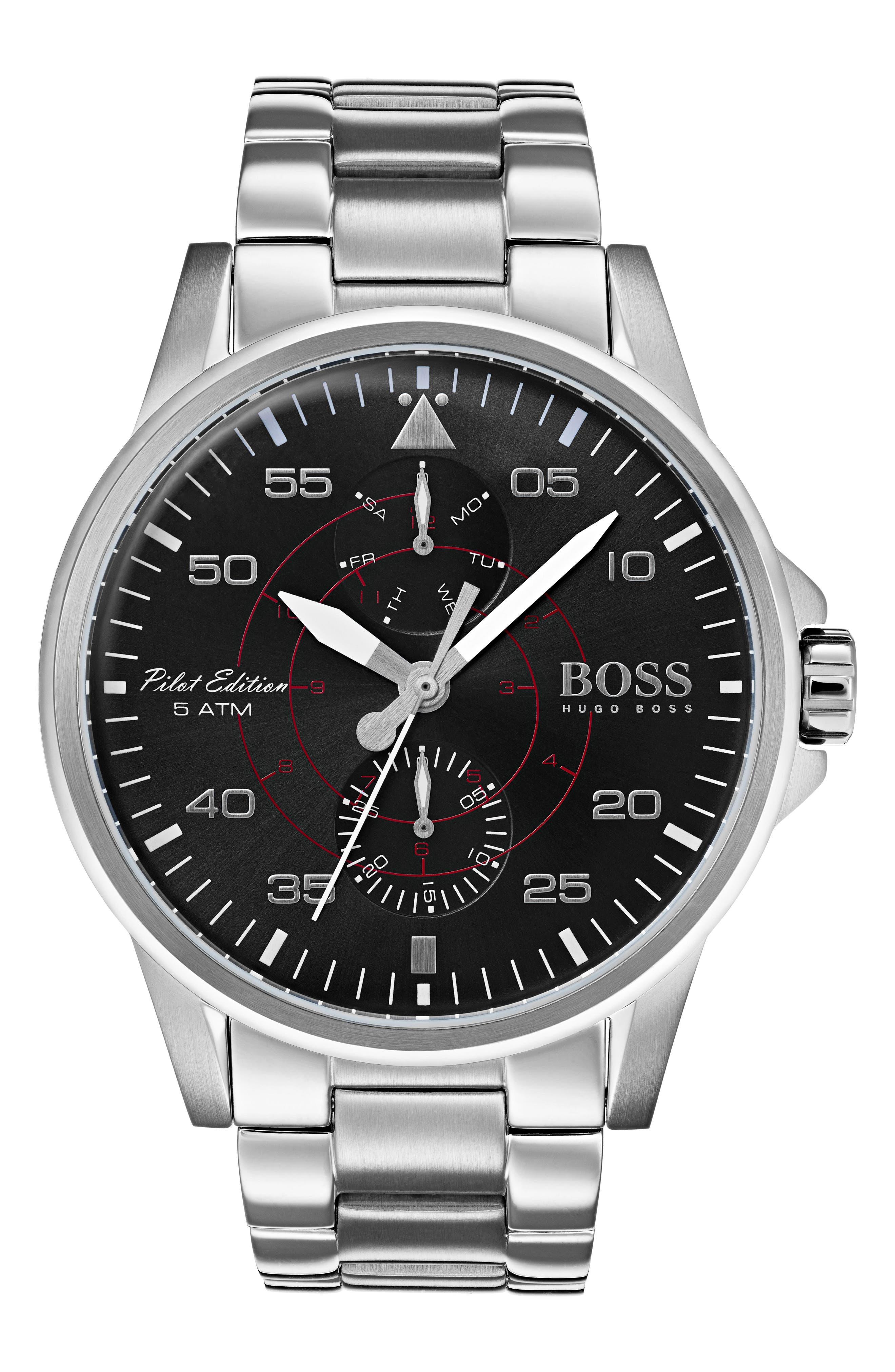 Aviator Multifunction Bracelet Watch, 44mm,                         Main,                         color, Black/ Silver