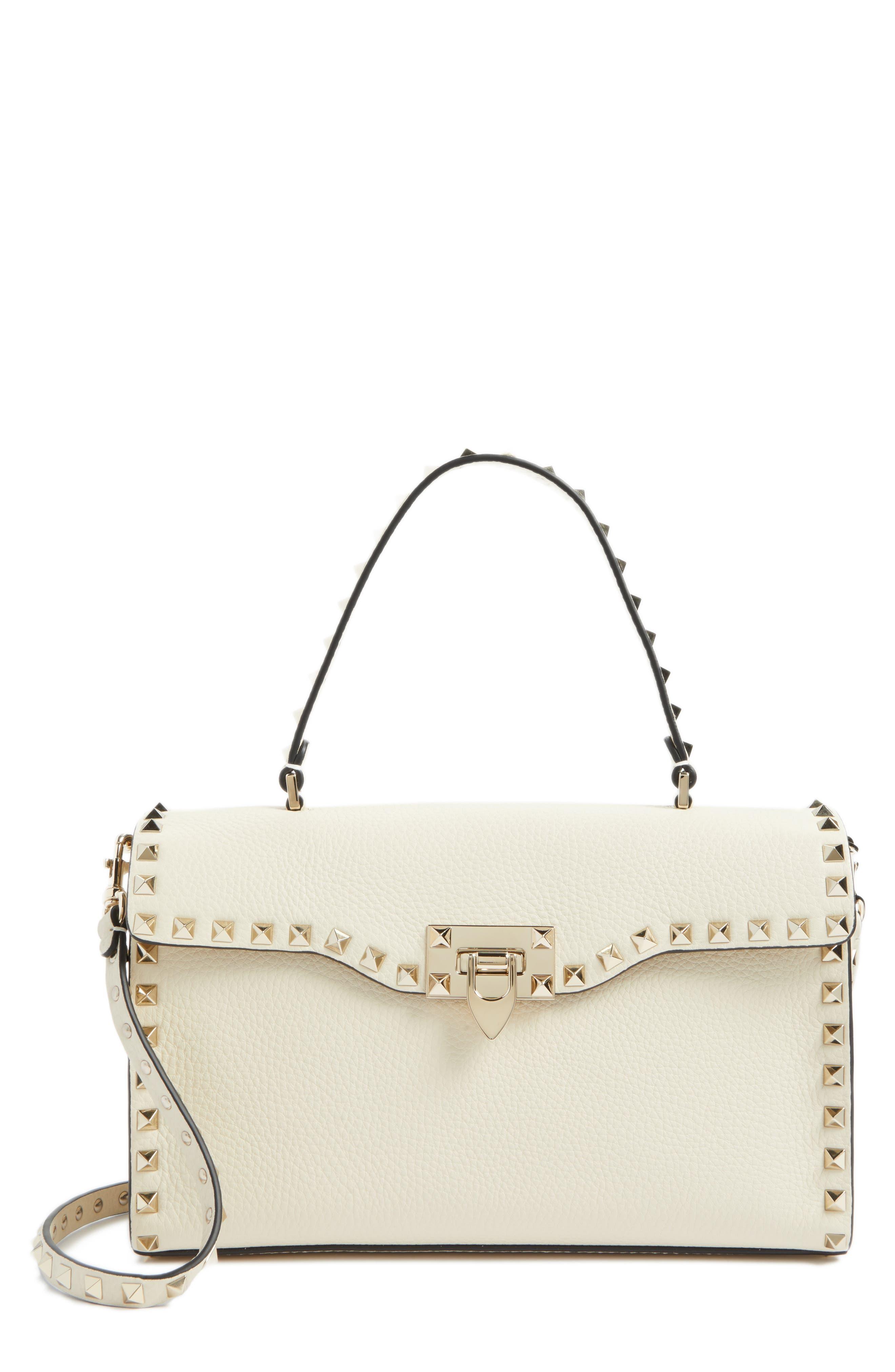 Rockstud Leather Top Handle Shoulder Bag,                         Main,                         color, Light Ivory