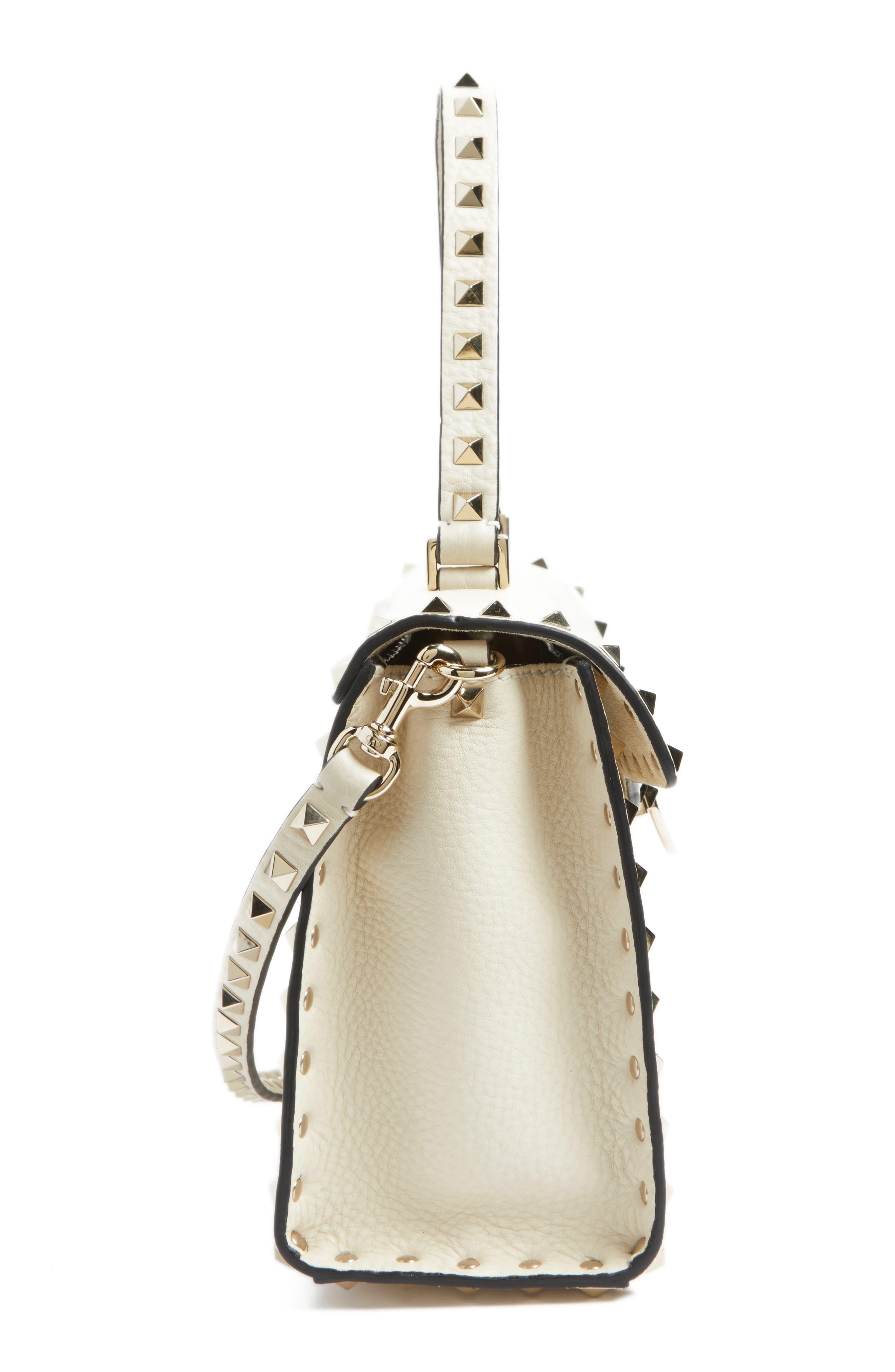 Rockstud Leather Top Handle Shoulder Bag,                             Alternate thumbnail 3, color,                             Light Ivory