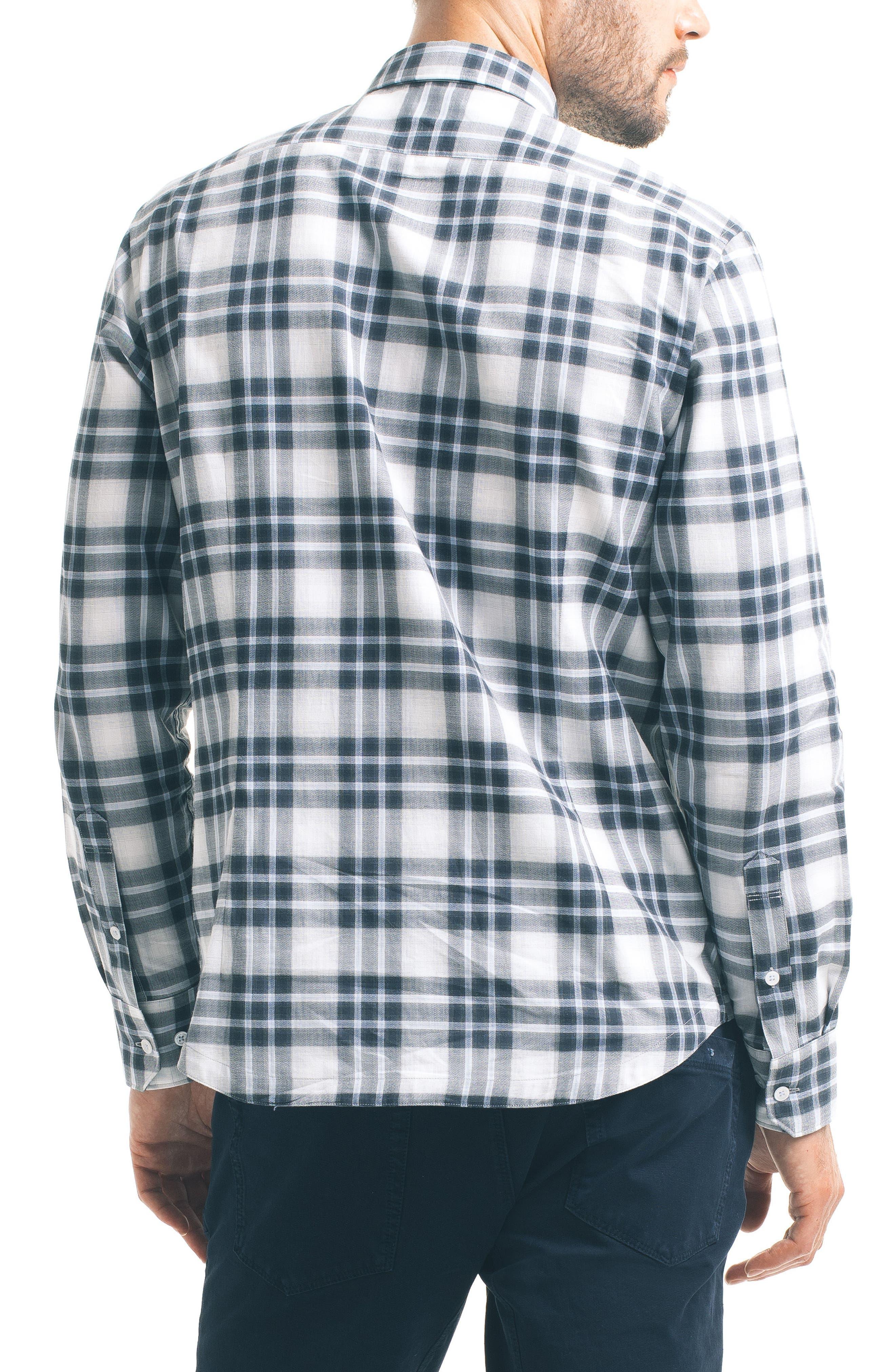 Slim Fit Plaid Sport Shirt,                             Alternate thumbnail 2, color,                             White