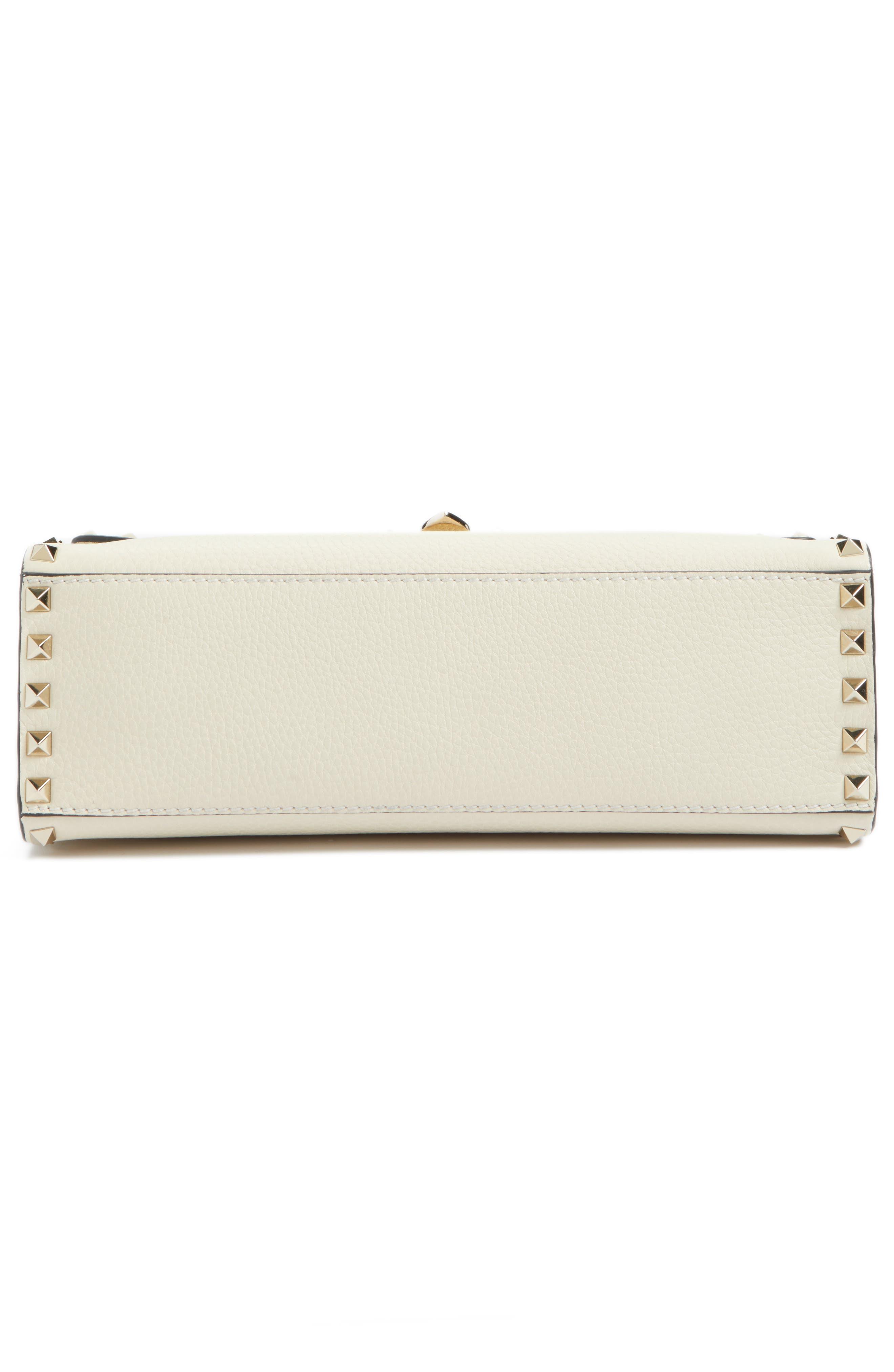 Rockstud Leather Top Handle Shoulder Bag,                             Alternate thumbnail 4, color,                             Light Ivory