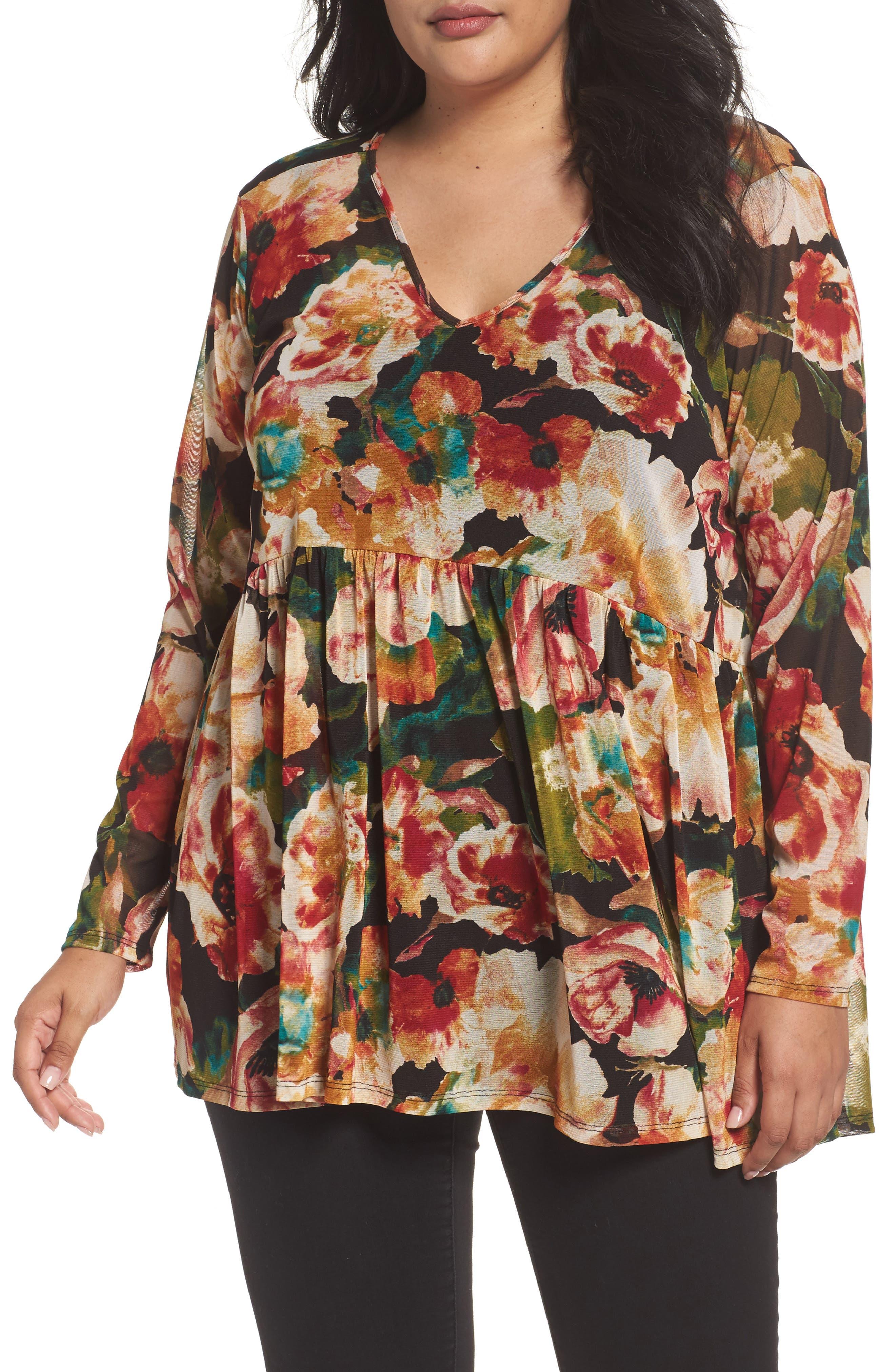 Alternate Image 1 Selected - Sejour Floral Print Mesh Peplum Tunic (Plus Size)
