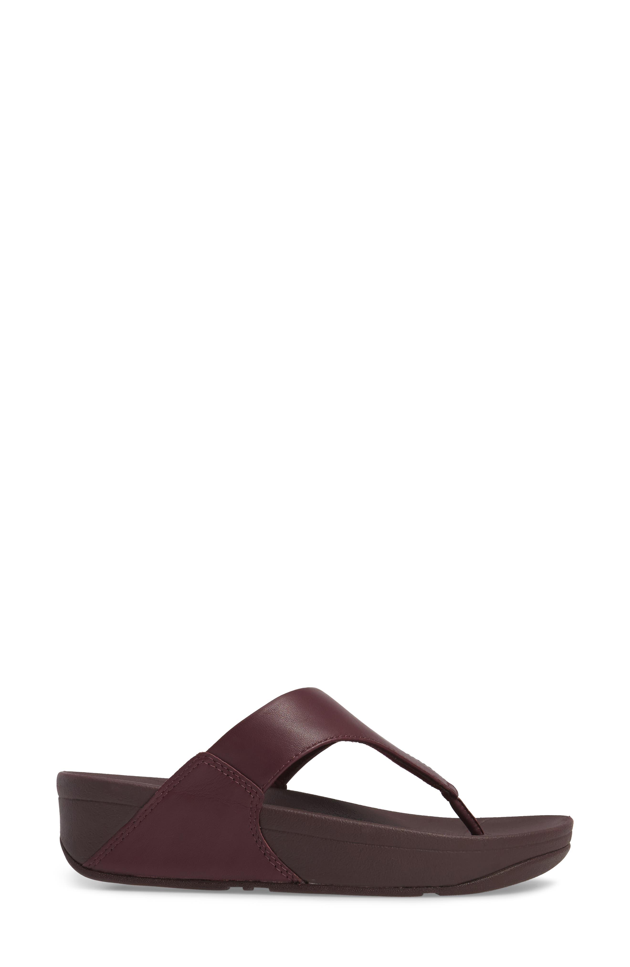 Lulu Sandal,                             Alternate thumbnail 3, color,                             Deep Plum Leather